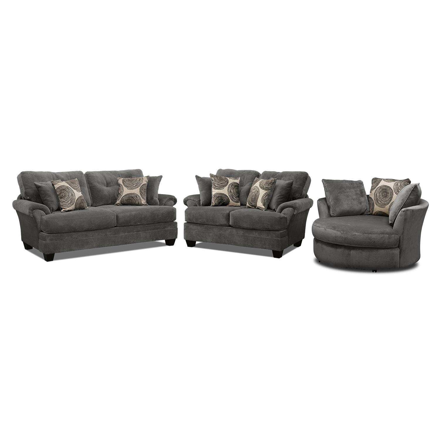 Cordelle Sofa, Loveseat And Swivel Chair Set – Gray | Value City For Swivel Sofa Chairs (View 4 of 30)
