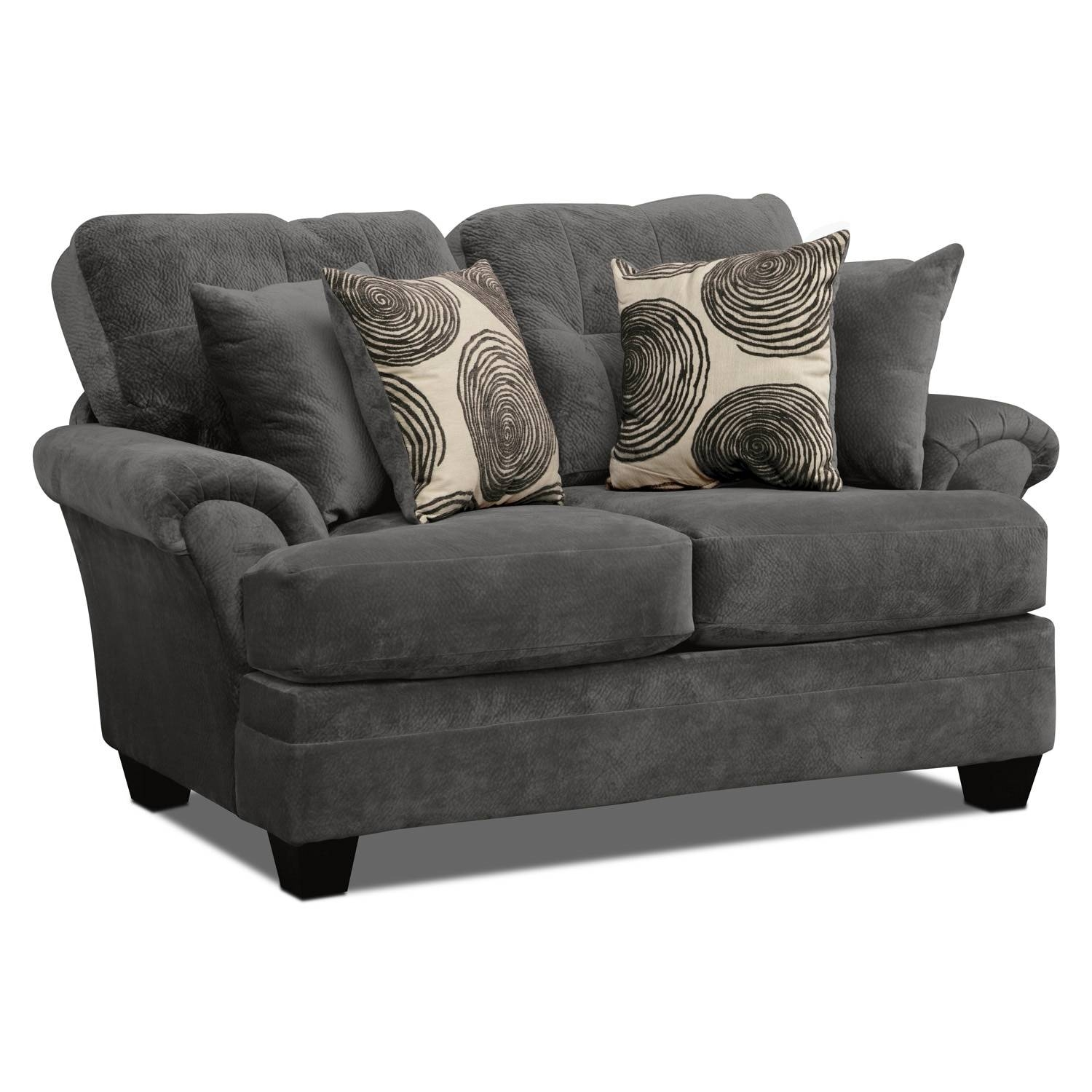 Cordelle Sofa, Loveseat And Swivel Chair Set – Gray | Value City Intended For Swivel Sofa Chairs (View 5 of 30)