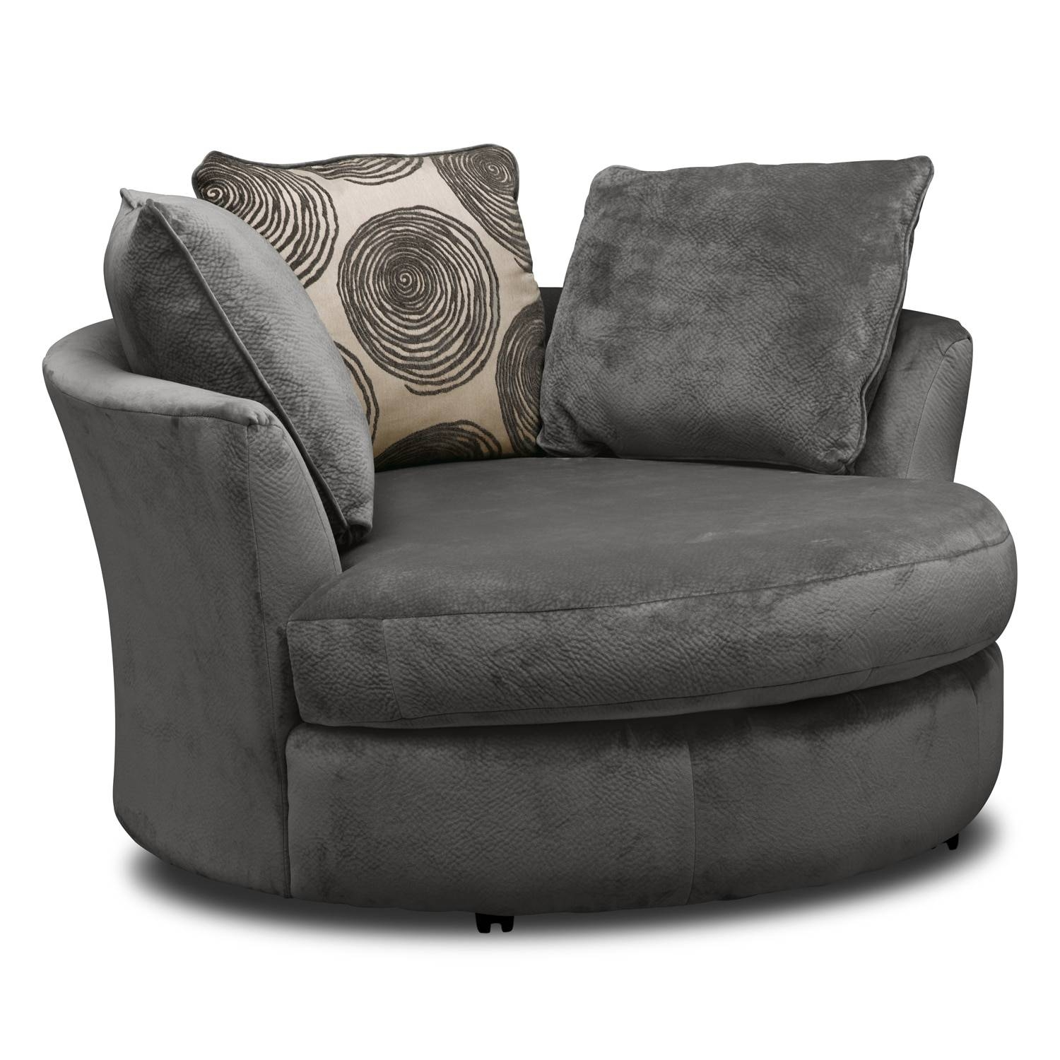 Cordelle Sofa, Loveseat And Swivel Chair Set   Gray | Value City Pertaining  To Swivel