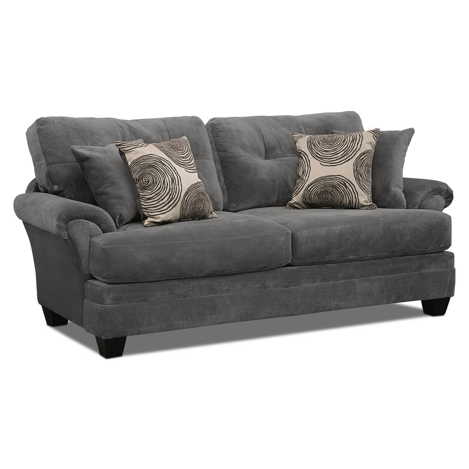 Cordelle Sofa, Loveseat And Swivel Chair Set – Gray | Value City With Regard To Swivel Sofa Chairs (View 7 of 30)