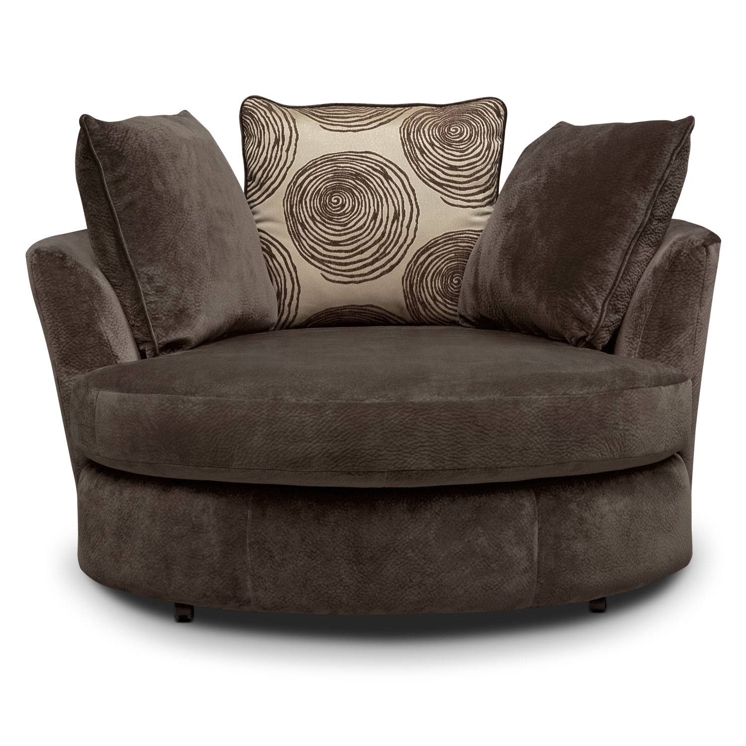 Cordelle Swivel Chair - Chocolate | Value City Furniture in Sofa With Swivel Chair (Image 10 of 30)