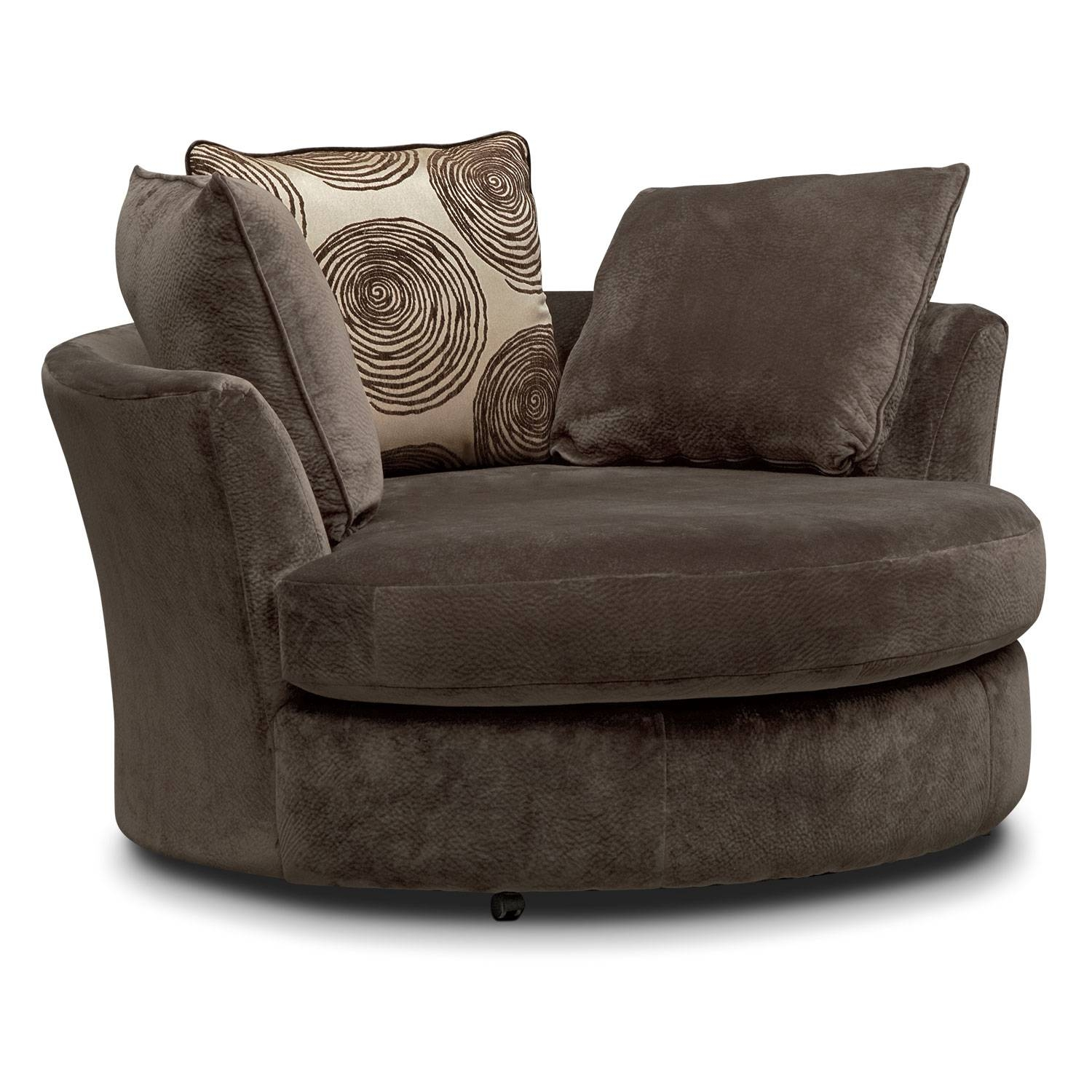Cordelle Swivel Chair - Chocolate | Value City Furniture intended for Round Sofa Chair Living Room Furniture (Image 4 of 30)
