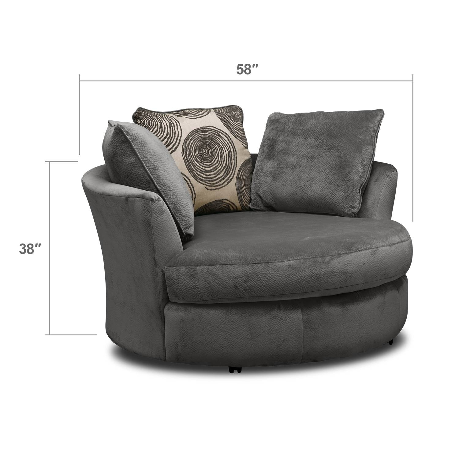 Cordelle Swivel Chair – Gray | American Signature Furniture For Swivel Sofa Chairs (View 9 of 30)
