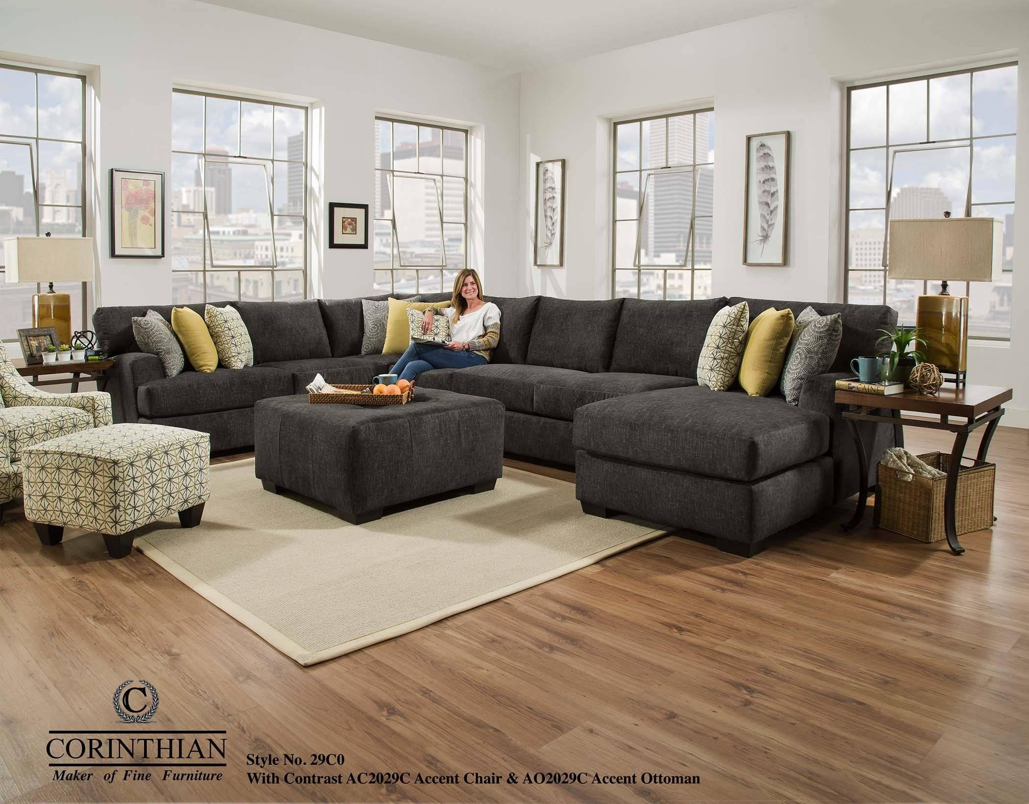 Corinthian Alton Alton 4 Piece Sectional With Rsf Chaise - Great regarding Corinthian Sectional Sofas (Image 11 of 30)