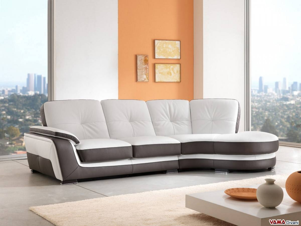 Corner Semicircular Chaise Sofa In Genuine Leather for Semicircular Sofa (Image 4 of 30)