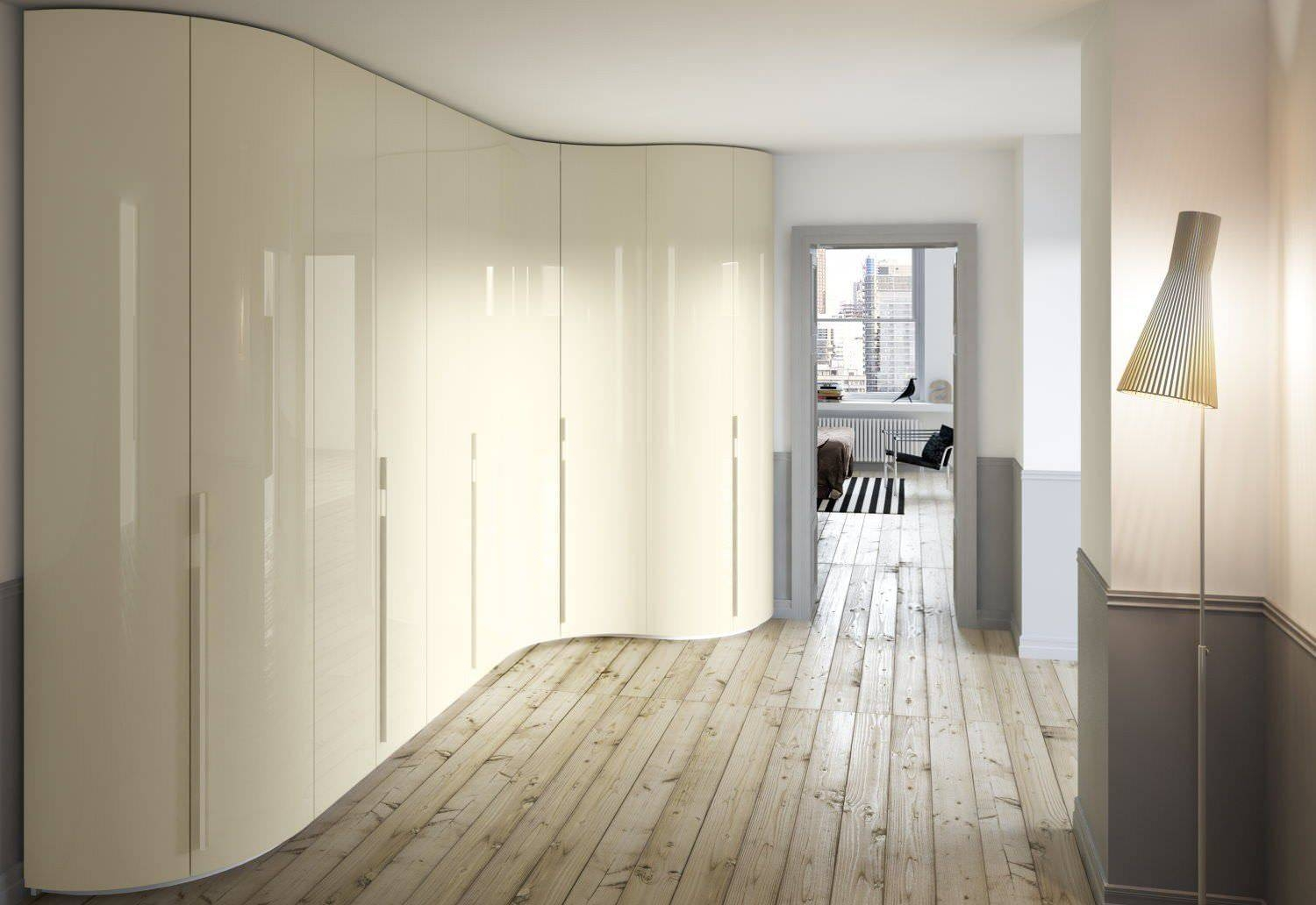 Corner Wardrobe / Contemporary / Wooden / Glossy Lacquered Wood for Curved Corner Wardrobe Doors (Image 10 of 30)