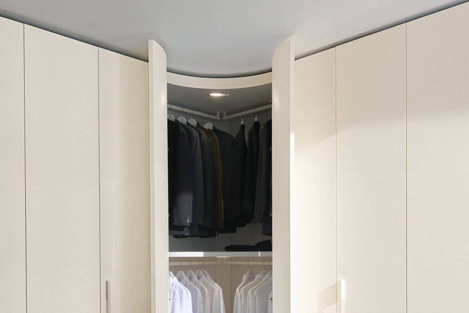 Corner Wardrobe / Contemporary / Wooden / Glossy Lacquered Wood in Curved Corner Wardrobe Doors (Image 11 of 30)