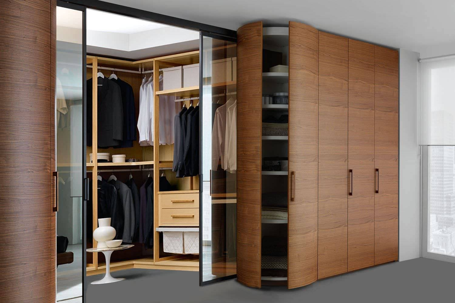 Corner Wardrobe / Contemporary / Wooden / Glossy Lacquered Wood inside Curved Corner Wardrobe Doors (Image 12 of 30)