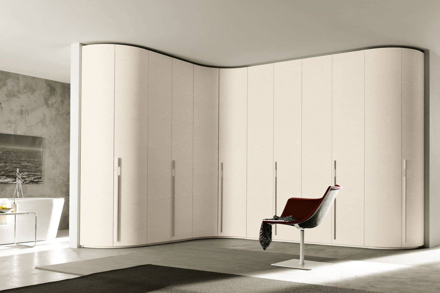 Corner Wardrobe / Contemporary / Wooden / Glossy Lacquered Wood With Curved Corner Wardrobe Doors (View 14 of 30)
