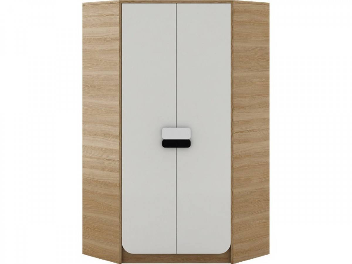Corner Wardrobe Natur Oak / White, 209,95 € within Oak and White Wardrobes (Image 7 of 15)