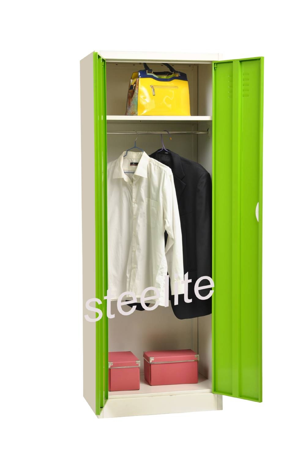 Corner White Two Door Steel Wardrobe With Hanging Rod & 2 Shelves With Regard To Double Hanging Rail Wardrobes (View 30 of 30)