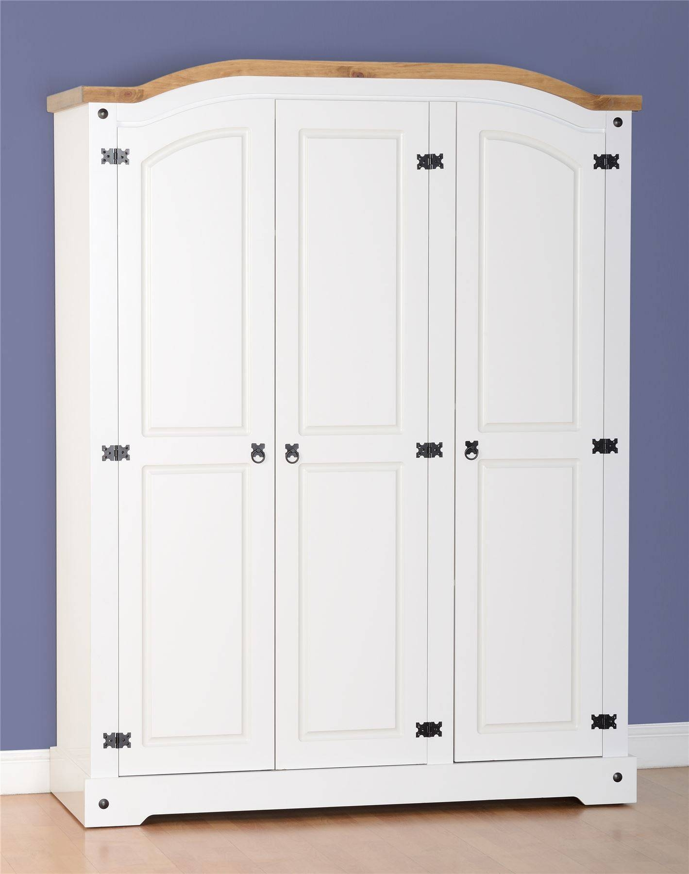 Corona 3 Door Wardrobe In White/distressed Waxed Pine | Ebay In Corona 3 Door Wardrobes (View 10 of 15)