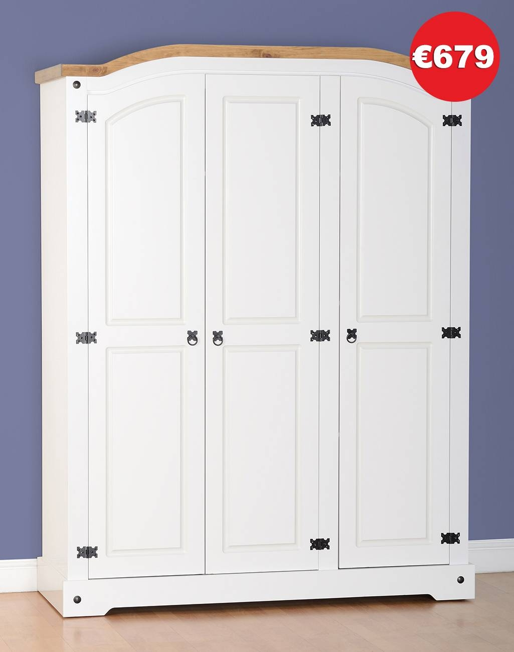 Corona 3 Door White Wardrobe - The Bed Store throughout 3 Door White Wardrobes (Image 6 of 30)