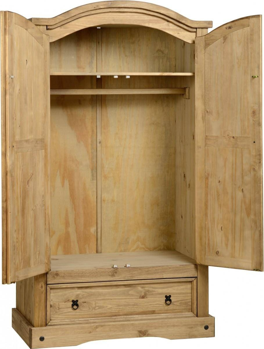 Corona Distressed Waxed Pine 2 Door And 1 Drawer Combi Wardrobe with Pine Wardrobe With Drawers and Shelves (Image 9 of 30)