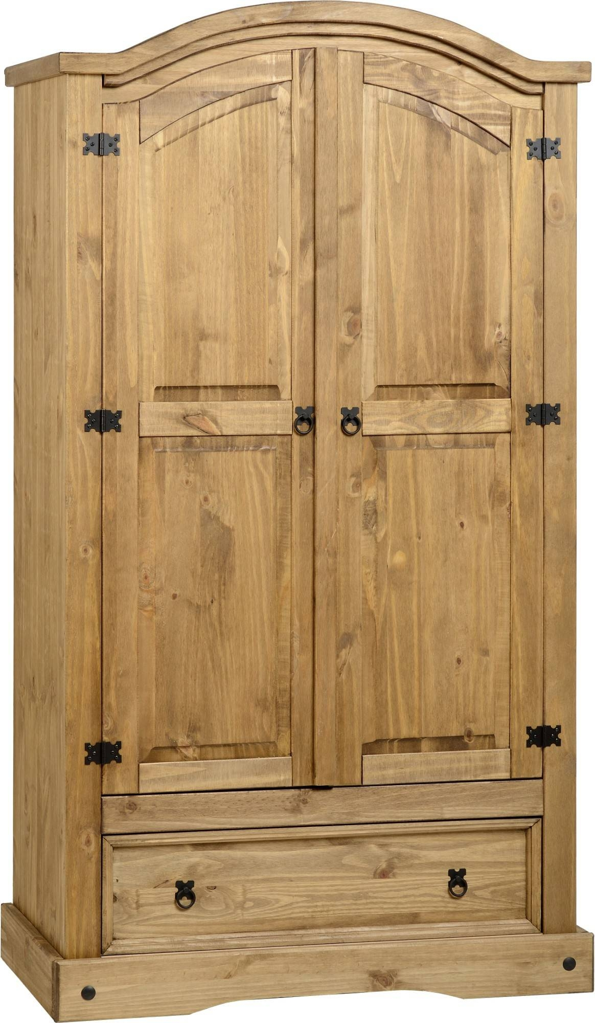 Corona Pine 2 Door Wardrobe With Drawer - Default Store View with Corona Wardrobes With 3 Doors (Image 11 of 15)