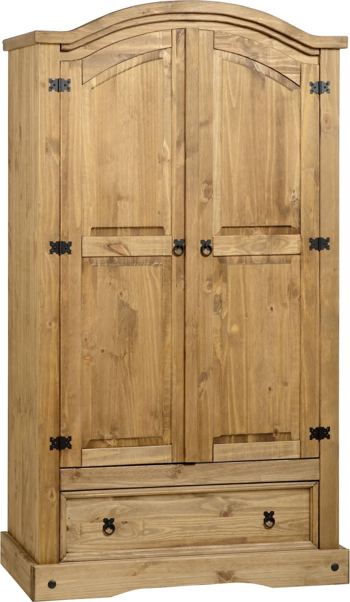 Corona Pine 2 Door Wardrobe With Drawer – Default Store View With Corona Wardrobes With 3 Doors (View 11 of 15)