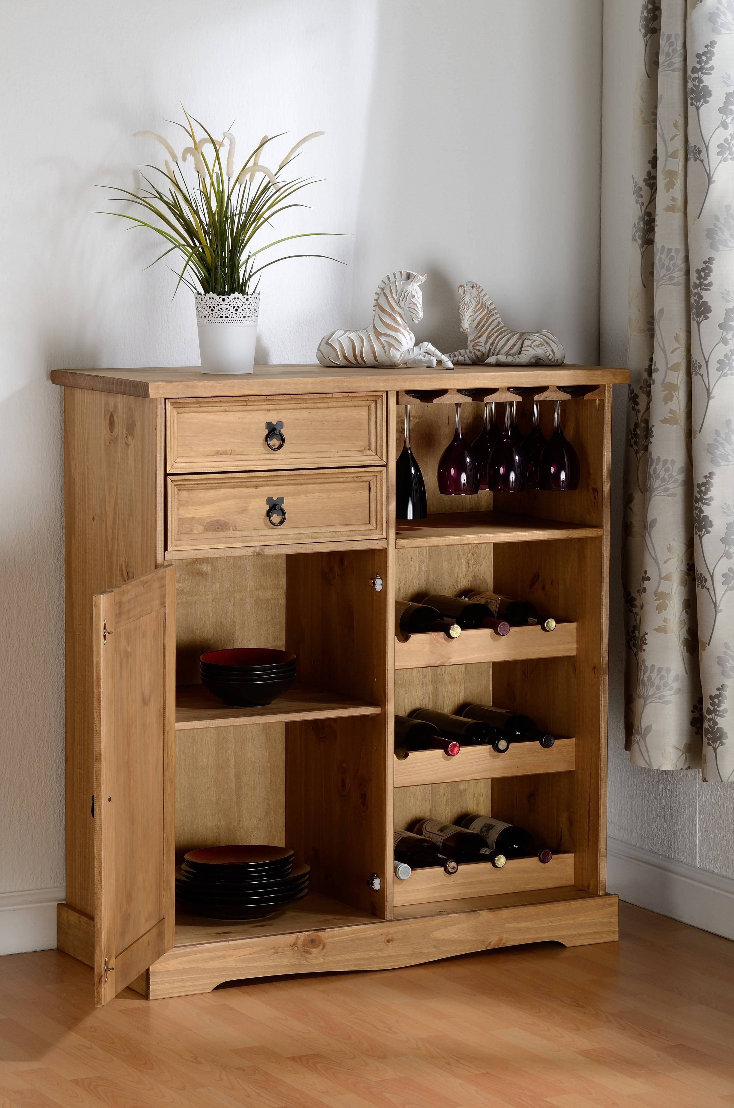Corona Sideboard/wine Rack Unit In Distressed Waxed Pine with Sideboards With Wine Racks (Image 3 of 30)