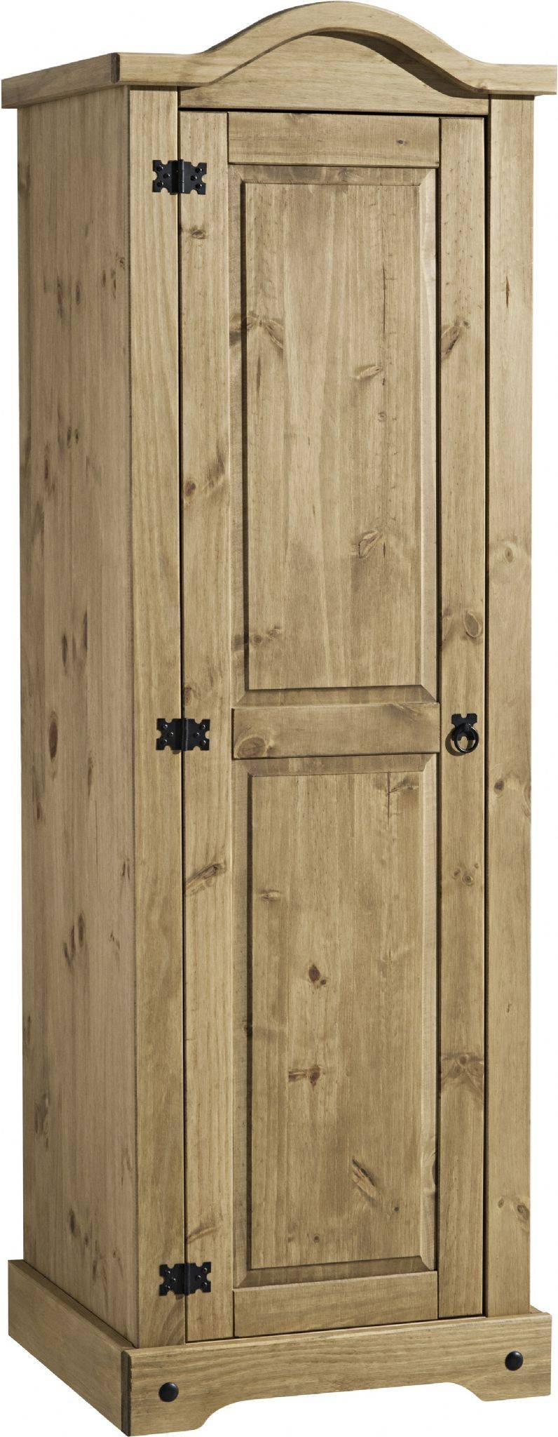 Corona Single One Mirrored Door 1 Drawer Armoire Wardrobe intended for Single Pine Wardrobes (Image 4 of 15)