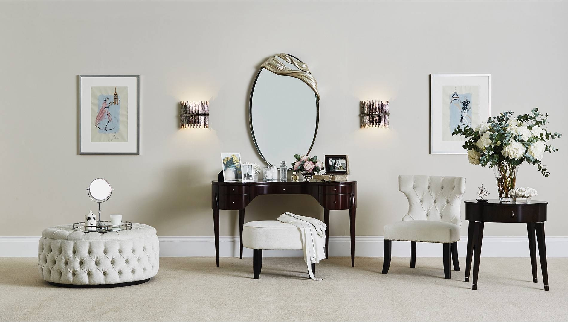 Cosmetic Mirror With Swarovski Crystals - Luxdeco with regard to Swarovski Mirrors (Image 17 of 25)