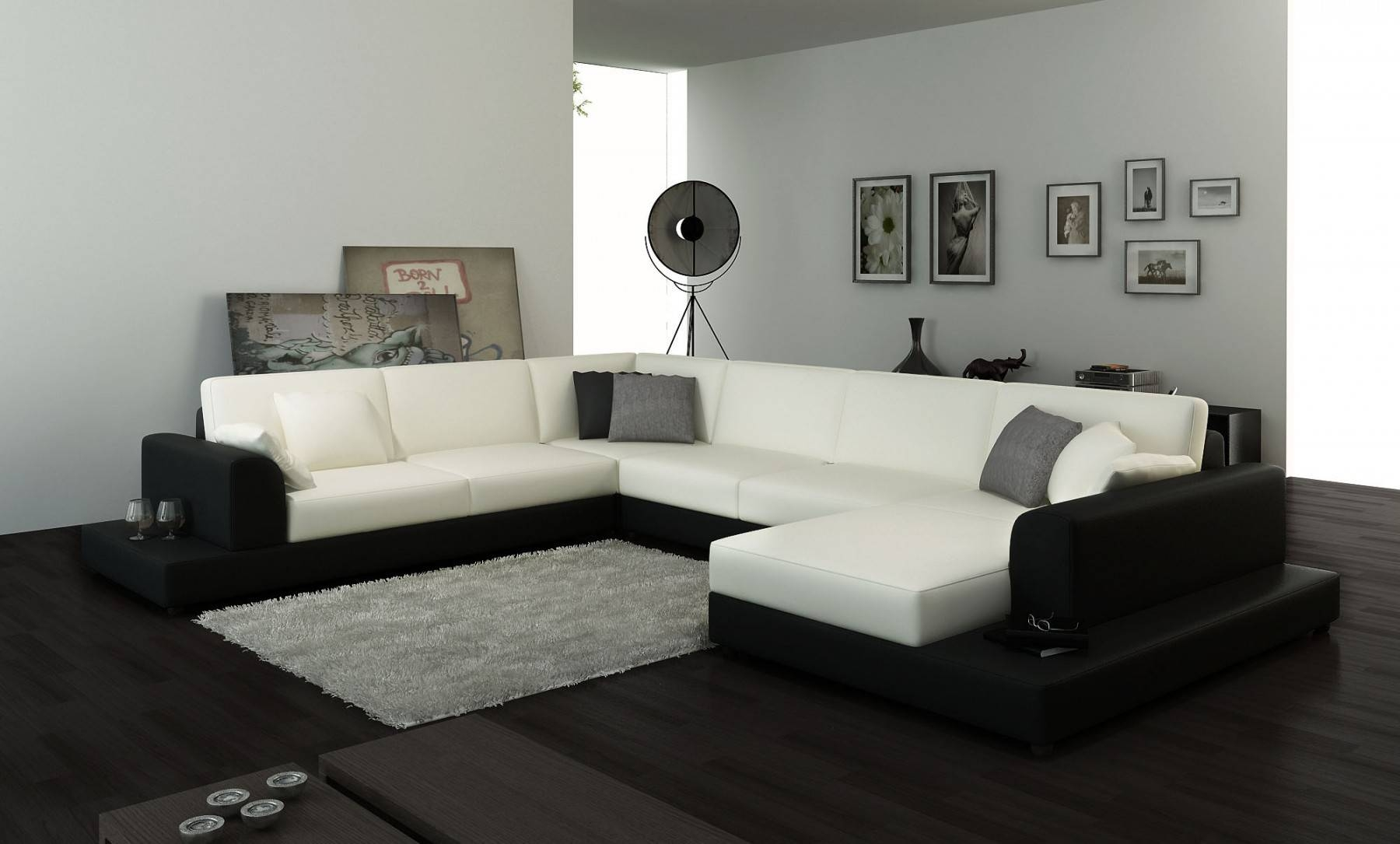 Costa Leather Corner Sofa With Right Hand Chaise In White/black with regard to White Leather Corner Sofa (Image 6 of 30)