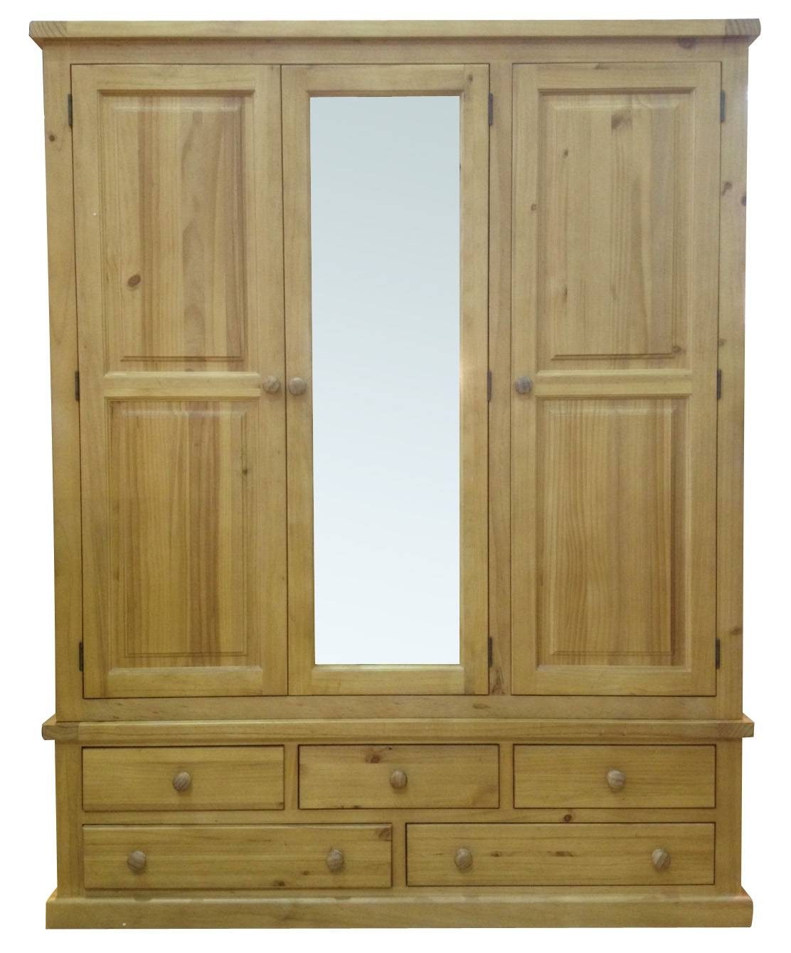 Cotham Large Mirrored 3 Door Pine Wardrobecotham Large Mirrored 3 For 3 Door Pine Wardrobes (View 6 of 15)