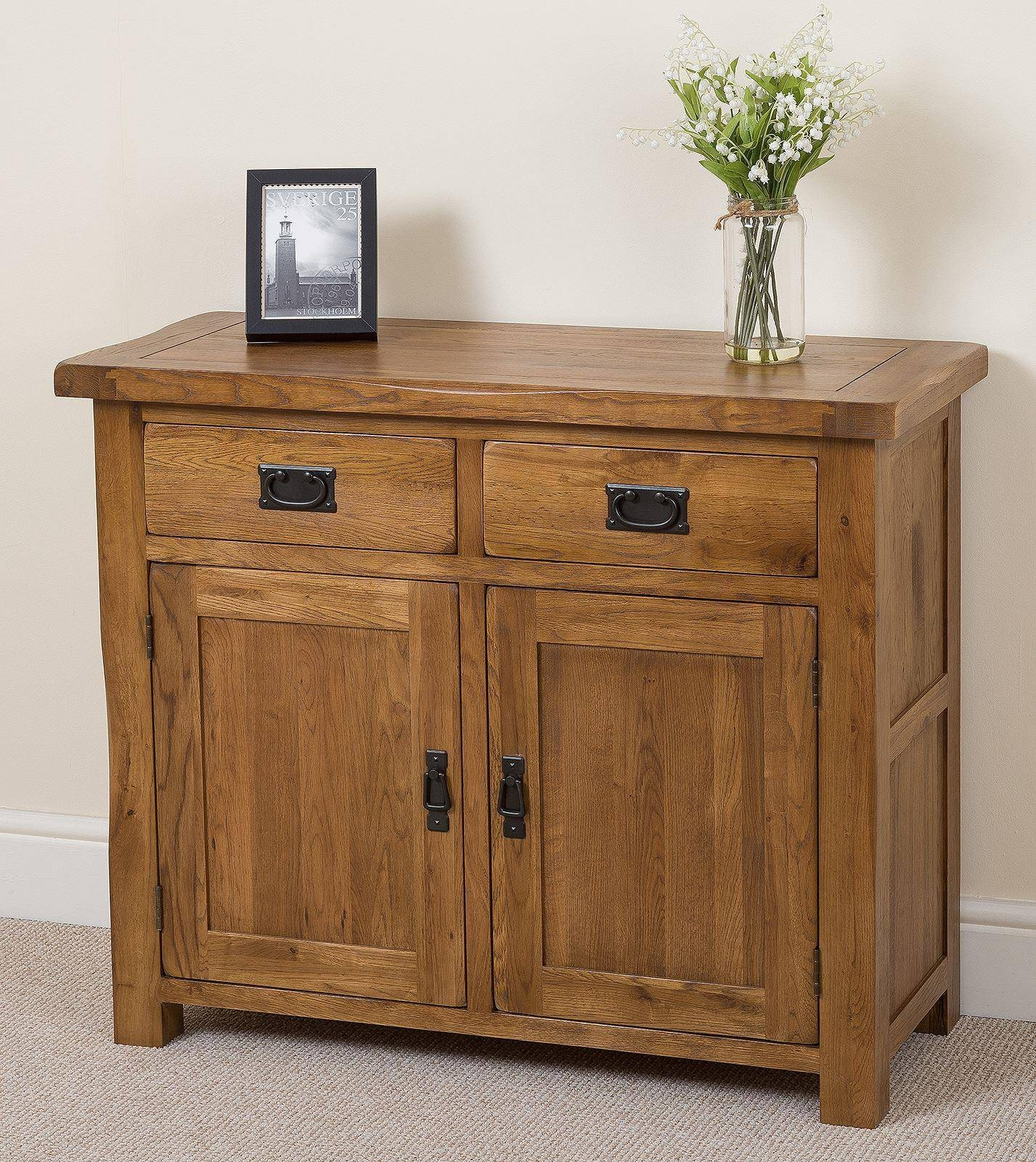 Cotswold Rustic Solid Oak Small Sideboard | Oak Furniture King in Small Wooden Sideboards (Image 11 of 30)