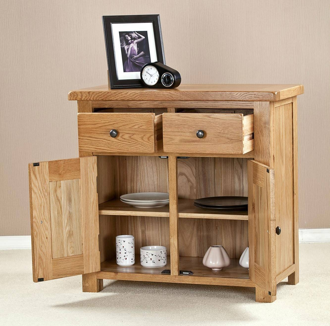 Cotswold Solid Oak 2 Door 2 Drawer Small Sideboard in Small Wooden Sideboards (Image 12 of 30)