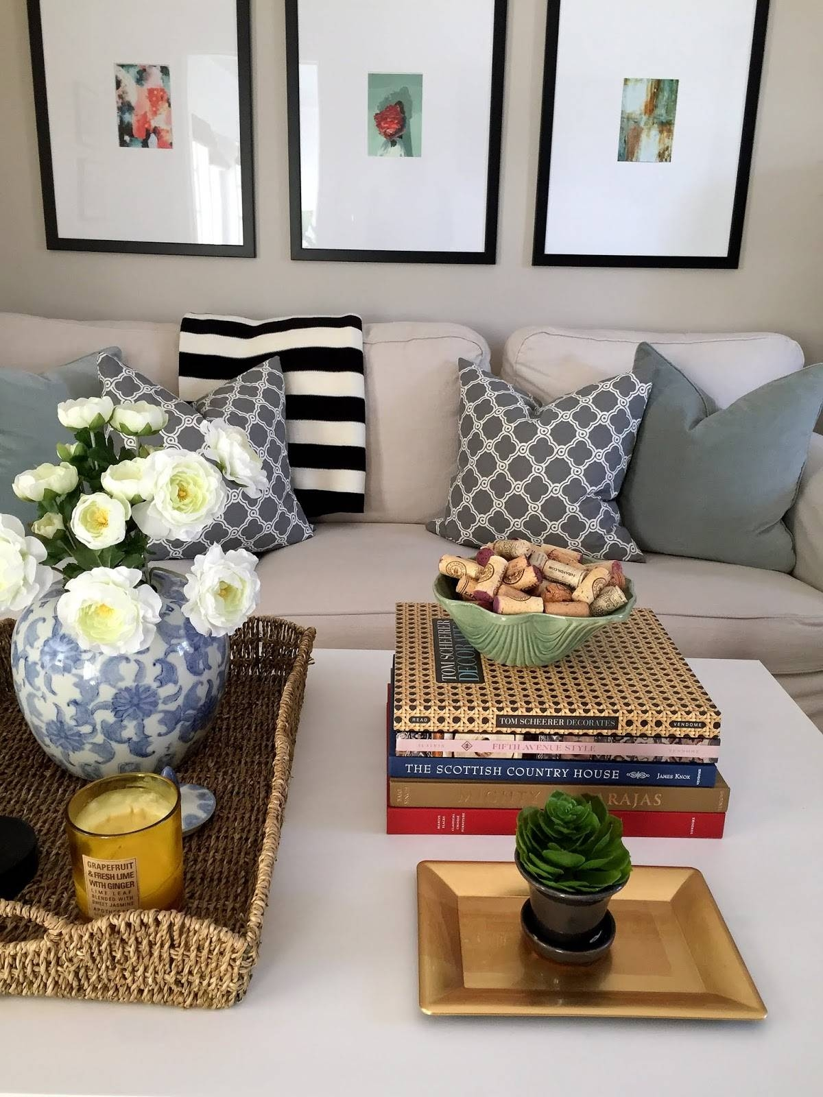 Cottage And Vine: How To Style Your Coffee Table within White Coffee Tables With Baskets (Image 12 of 30)