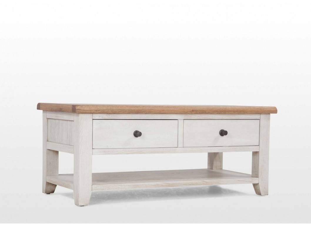 Cottage Oak And Painted Coffee Table Furniture Uk French Tables regarding Cream And Oak Coffee Tables (Image 11 of 30)