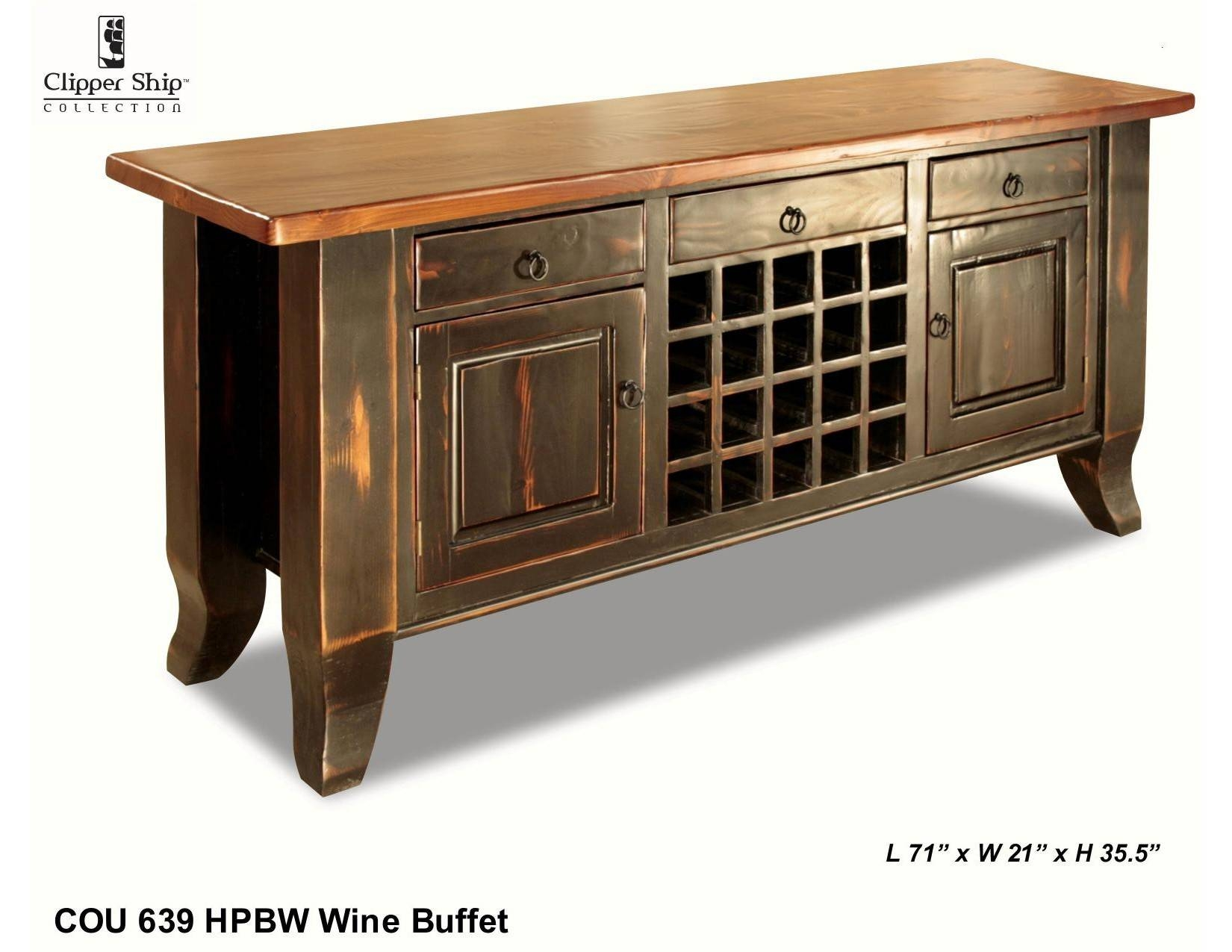 "Cou 639 ""honey Pine/black Wash"" Sideboard - Clippership Furniture with regard to Black Sideboards (Image 6 of 30)"