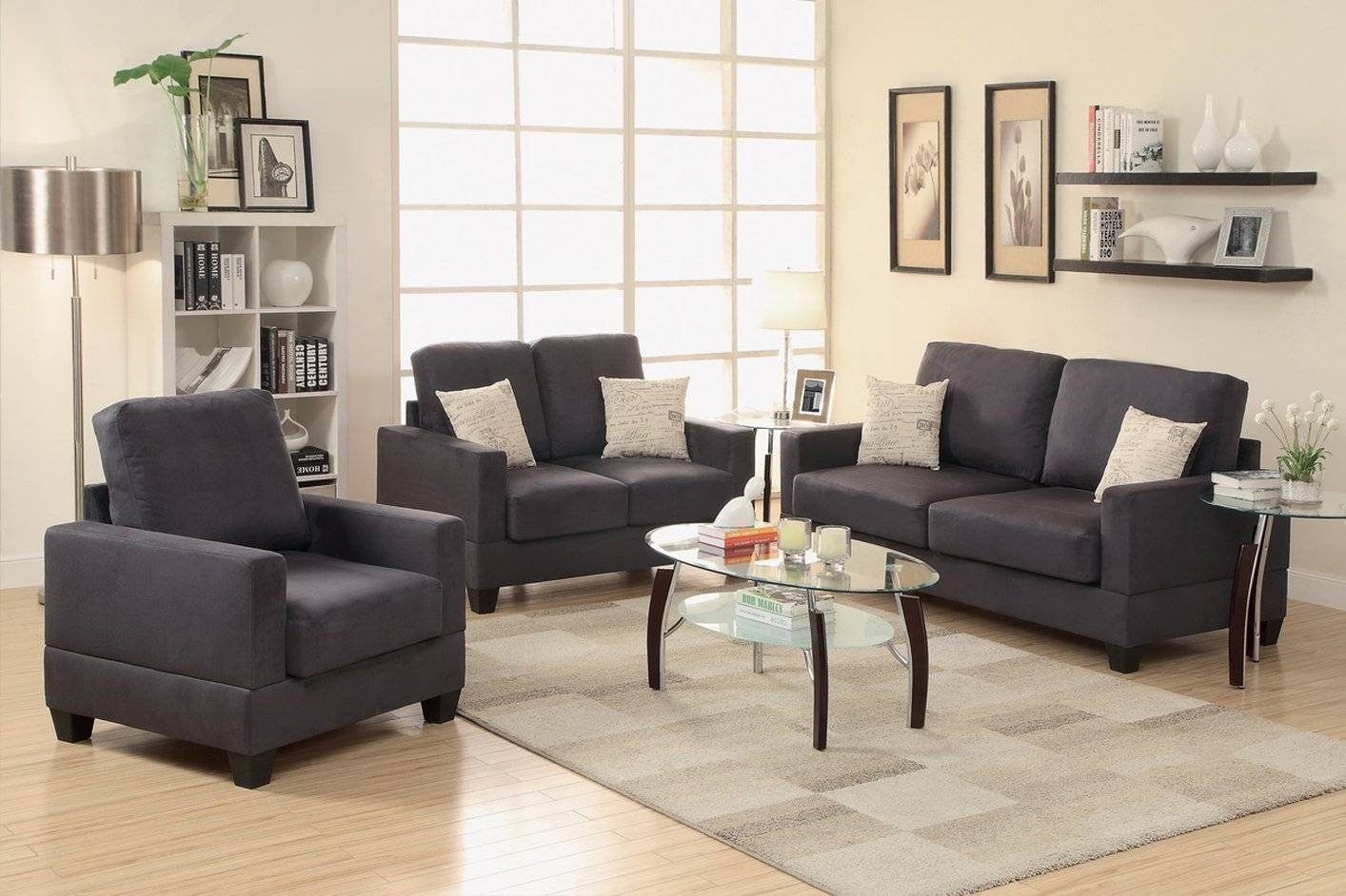 Couch And Loveseat Set Gray Foam Sofa Bed Oval Glass Coffee Table within Oval Sofas (Image 2 of 30)