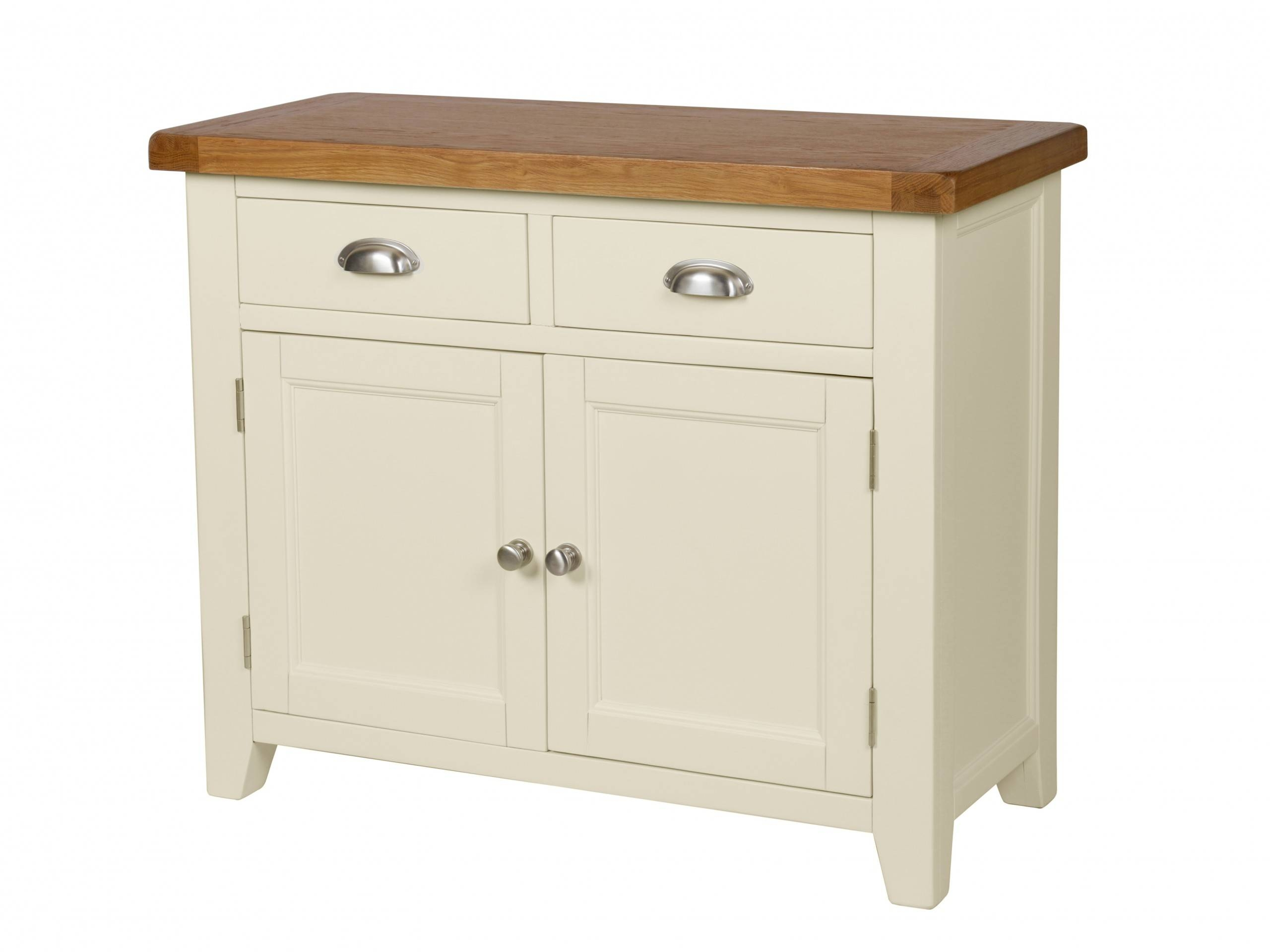 Country Cottage 100Cm Cream Painted Oak Sideboard inside Cream Sideboards (Image 5 of 30)