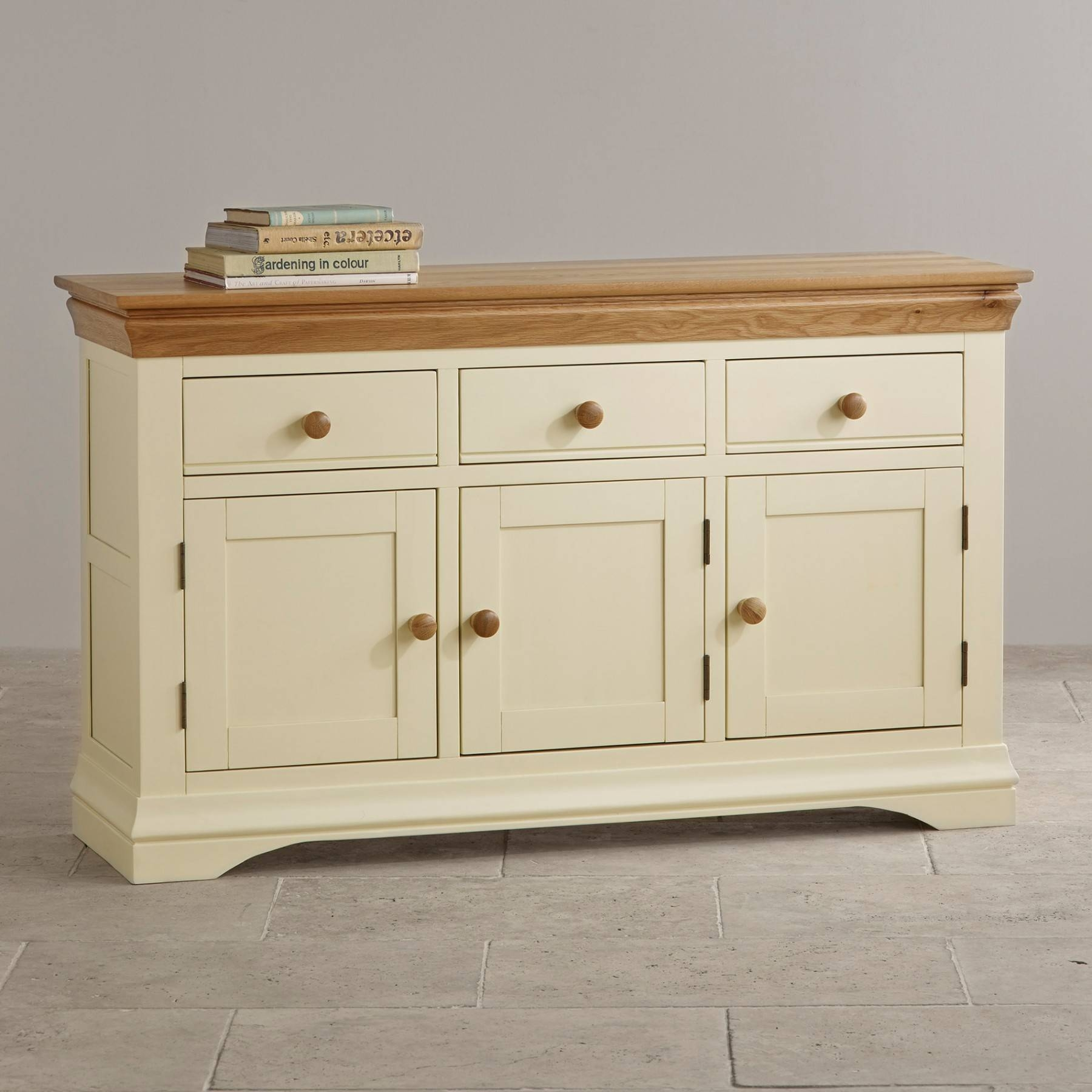 Country Cottage Natural Oak And Painted Large Sideboard Oak pertaining to Fully Assembled Sideboards (Image 13 of 30)