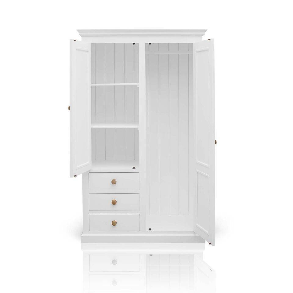 Country Painted Pine Double Combination Wardrobe - White in Wardrobes Chest Of Drawers Combination (Image 7 of 15)
