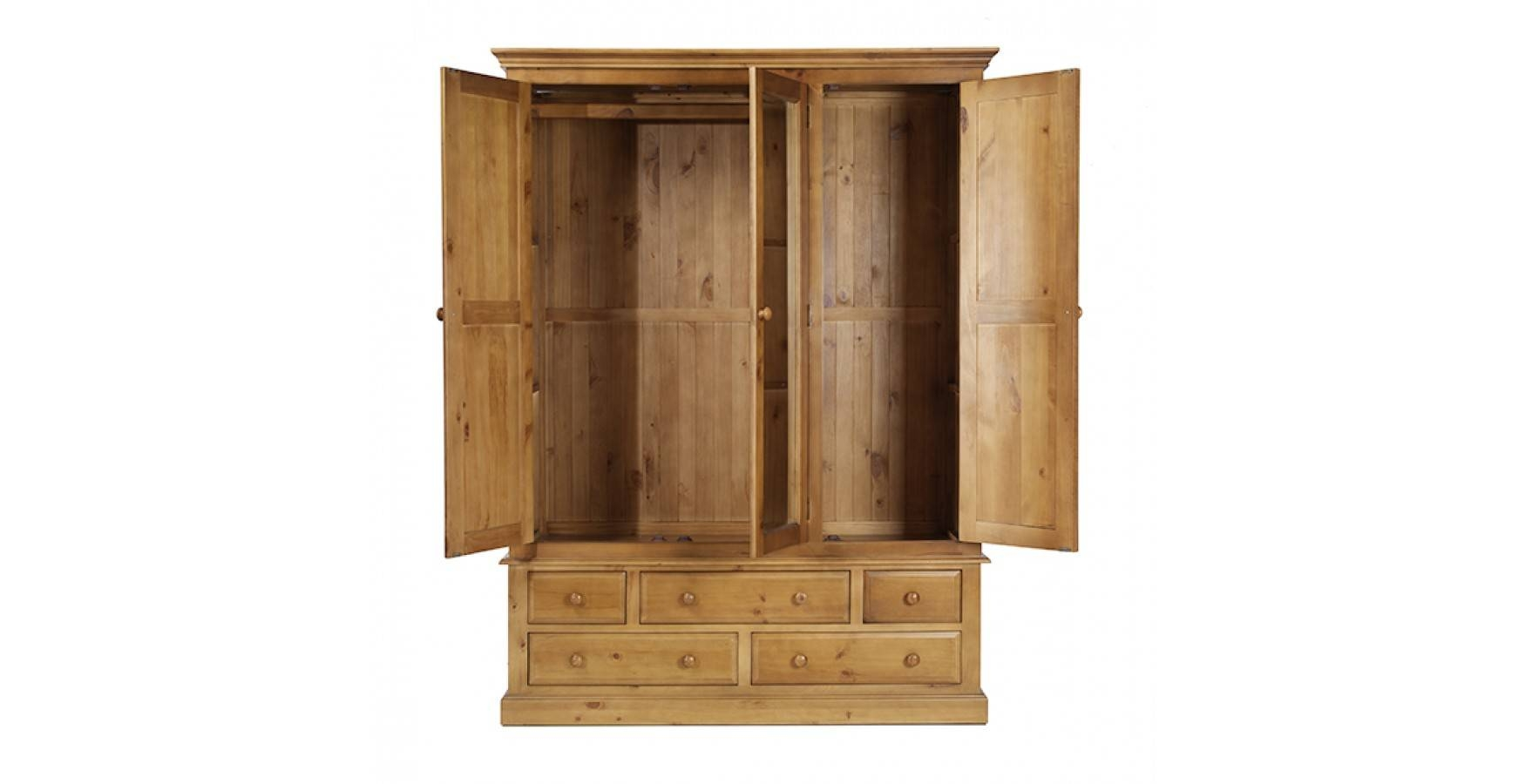 Country Pine Triple Wardrobe With Drawers - Lifestyle Furniture Uk with Triple Wardrobes With Drawers (Image 5 of 15)
