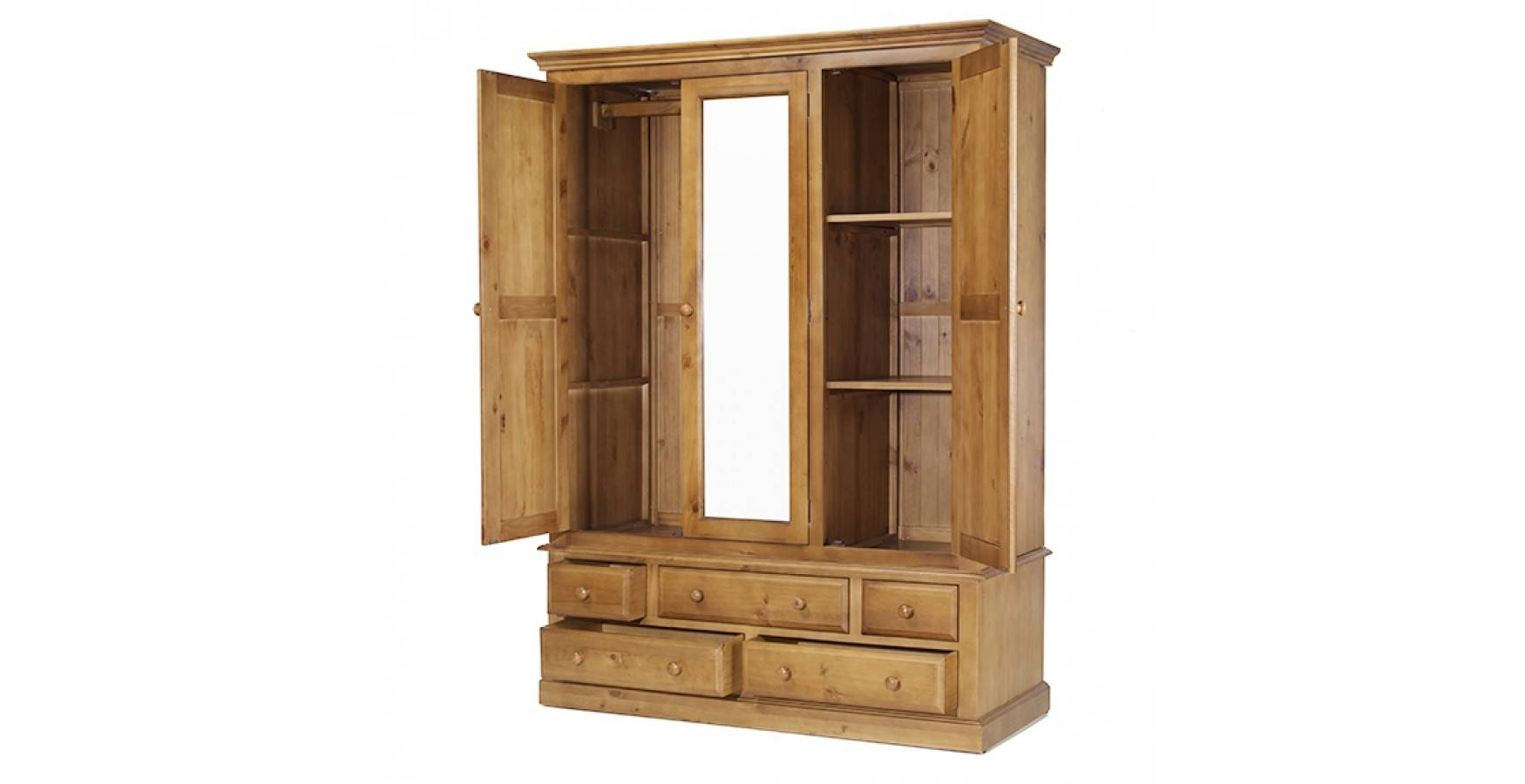 Country Pine Triple Wardrobe With Drawers - Lifestyle Furniture Uk within Pine Wardrobe With Drawers and Shelves (Image 10 of 30)