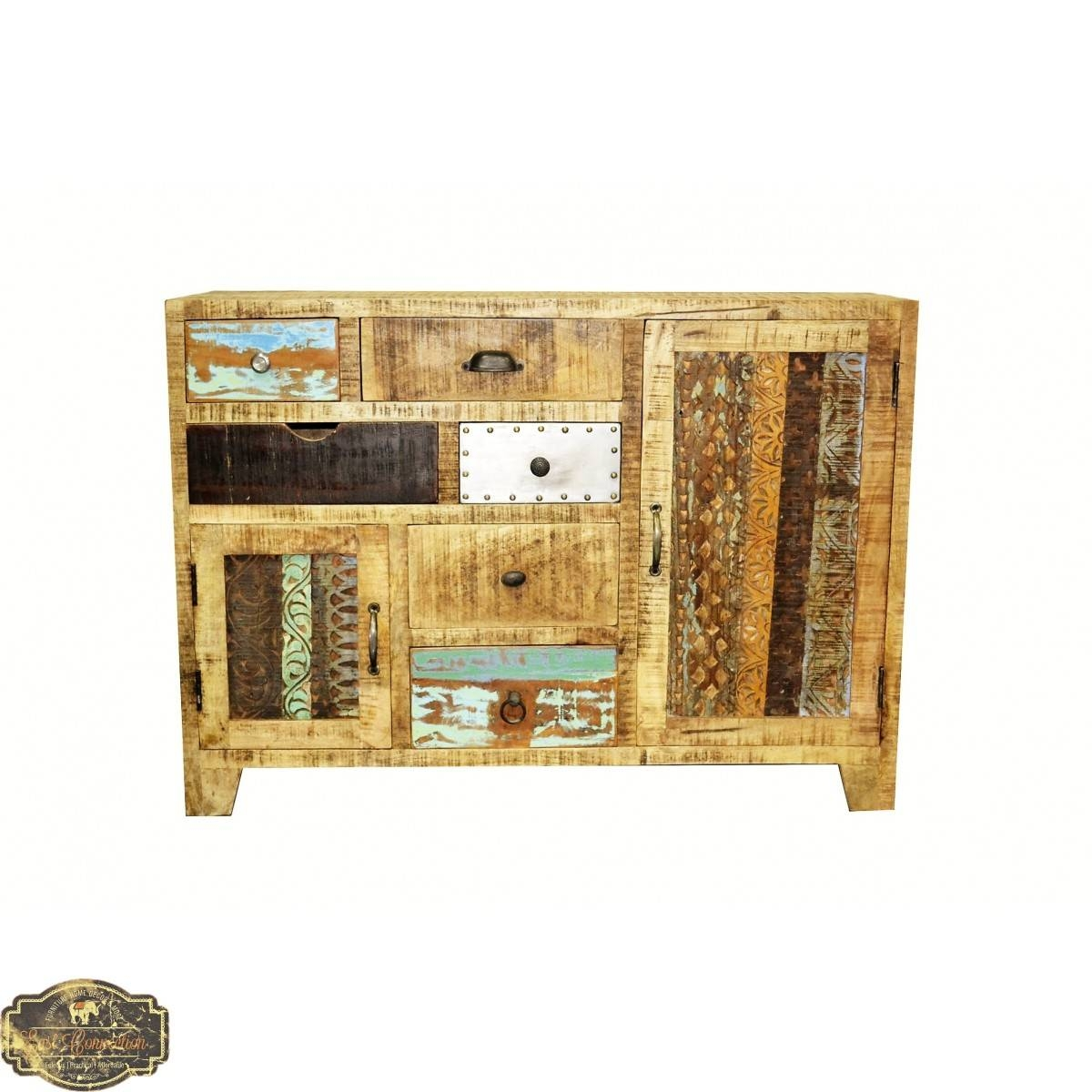 Country Timber Sideboard Cabinet Buffet Storage Drawer Unit Retro with regard to Multi Drawer Sideboards (Image 14 of 30)