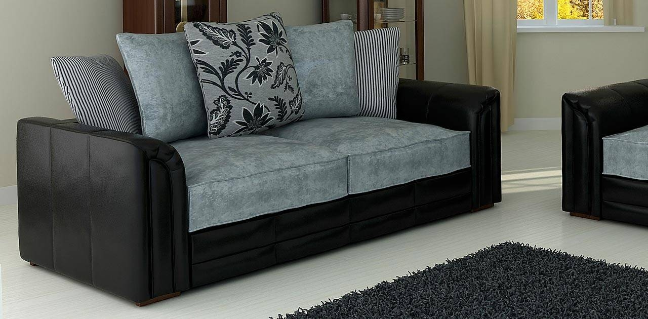 Court Black Grey 3 Seater Sofa - Fabric Sofas regarding 3 Seater Sofas For Sale (Image 8 of 30)