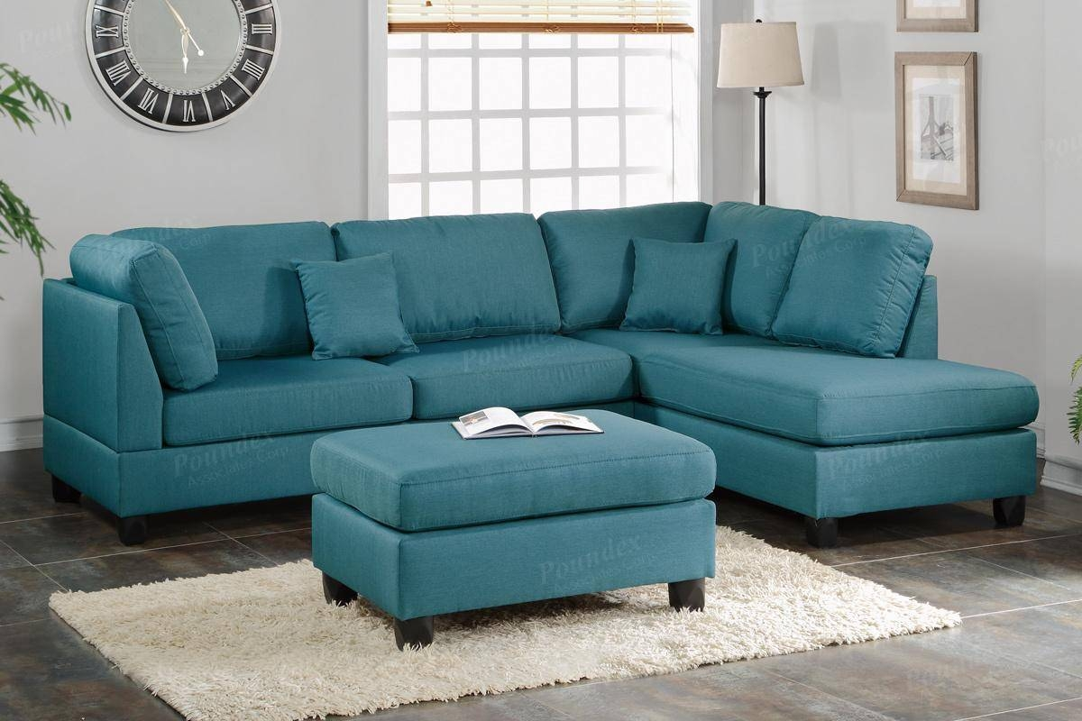 Courtney Blue Fabric Sectional Sofa And Ottoman - Steal-A-Sofa regarding Blue Sofa Chairs (Image 15 of 30)