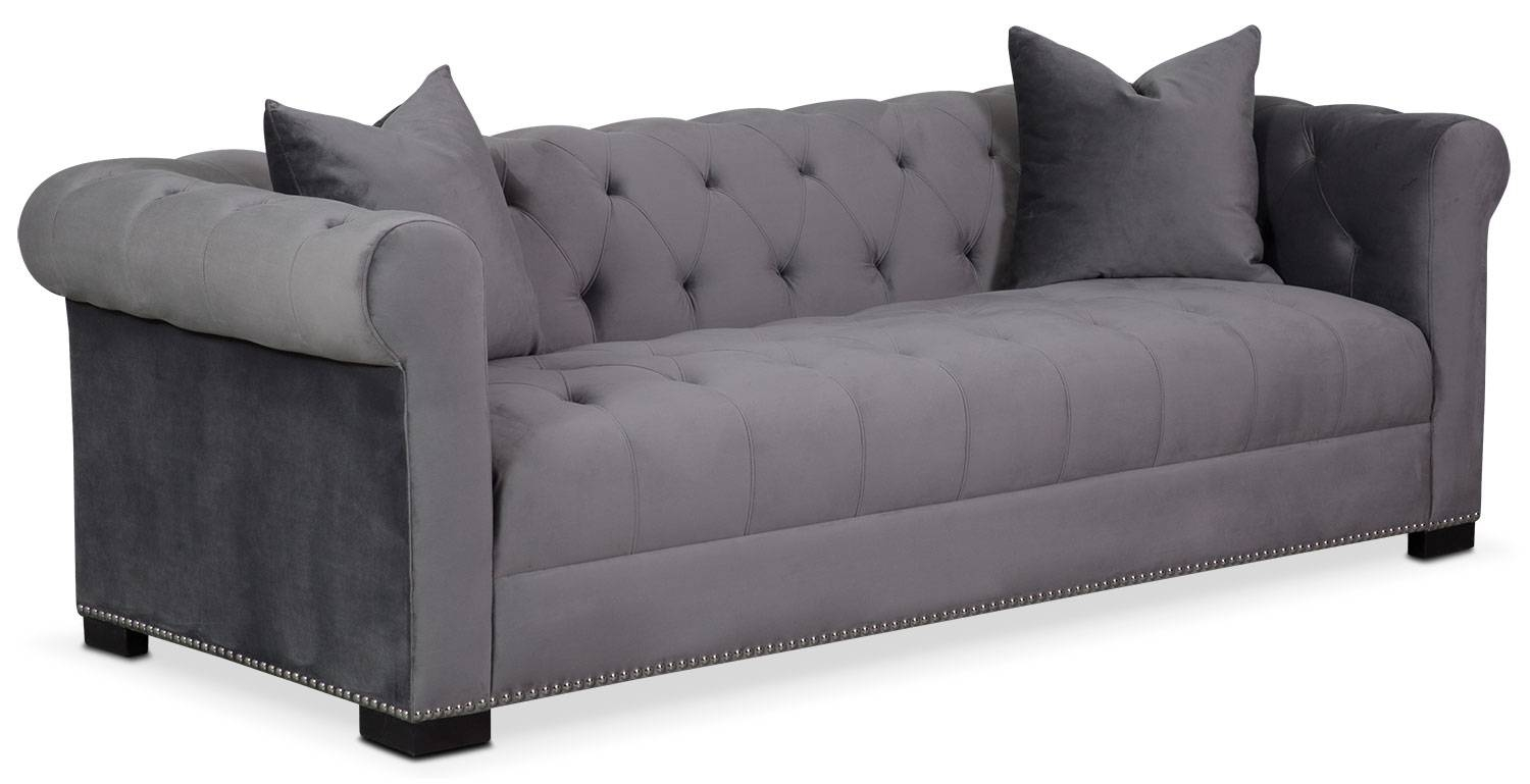 Couture Sofa - Gray | Value City Furniture for Value City Sofas (Image 4 of 25)
