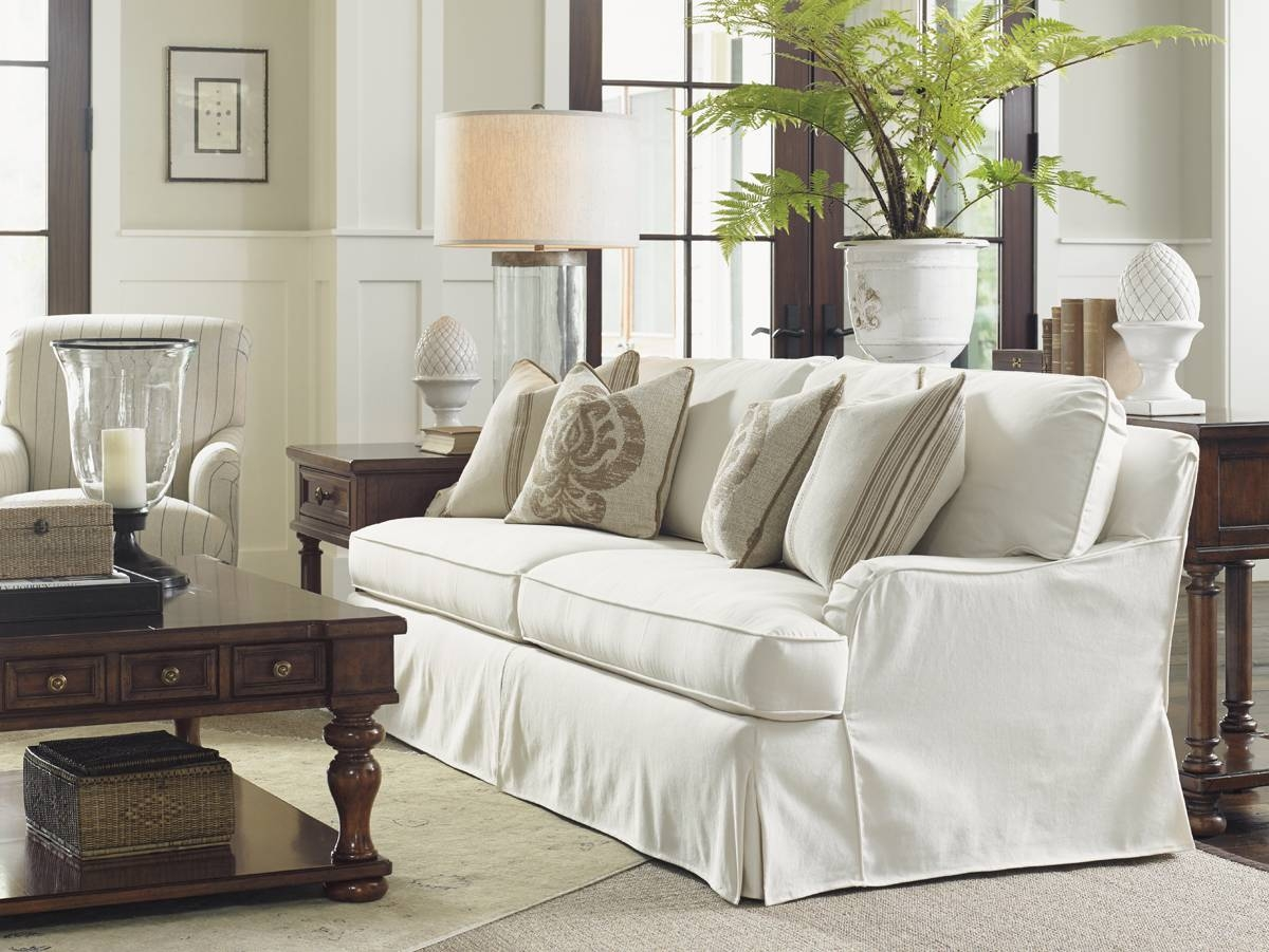 Coventry Hills Stowe Slipcover Sofa - Cream | Lexington Home Brands throughout Slipcovers Sofas (Image 5 of 30)
