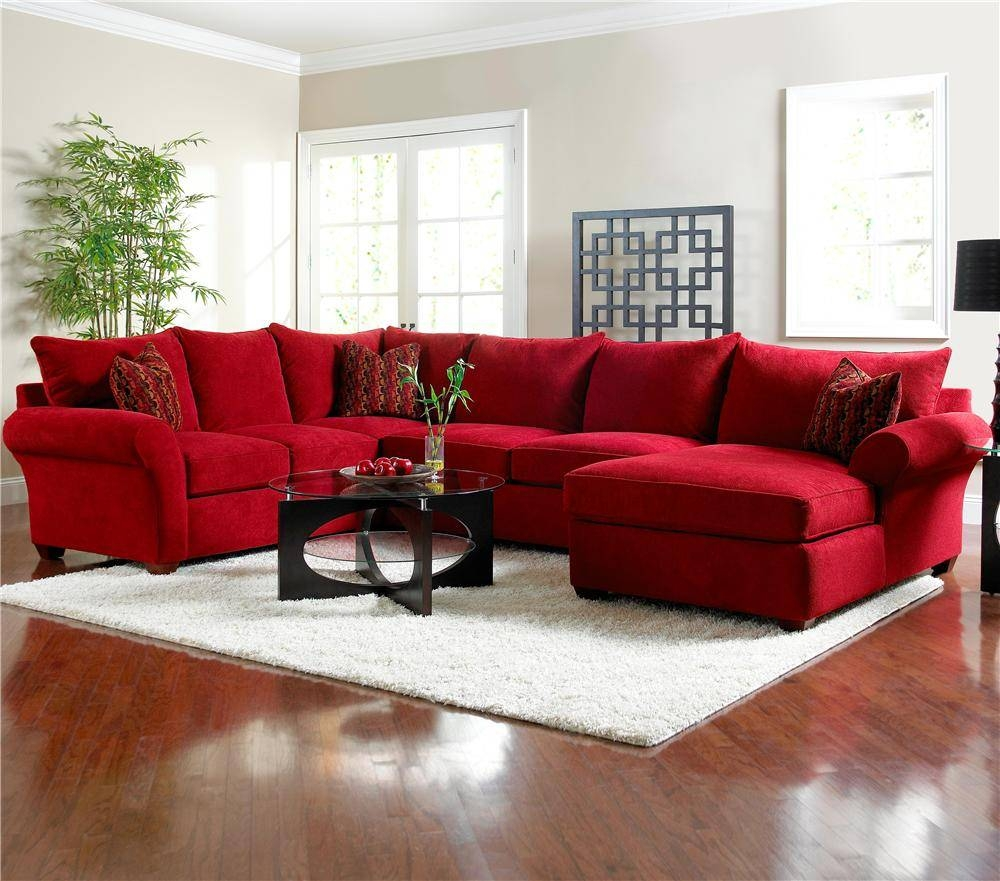 Featured Photo of Red Microfiber Sectional Sofas
