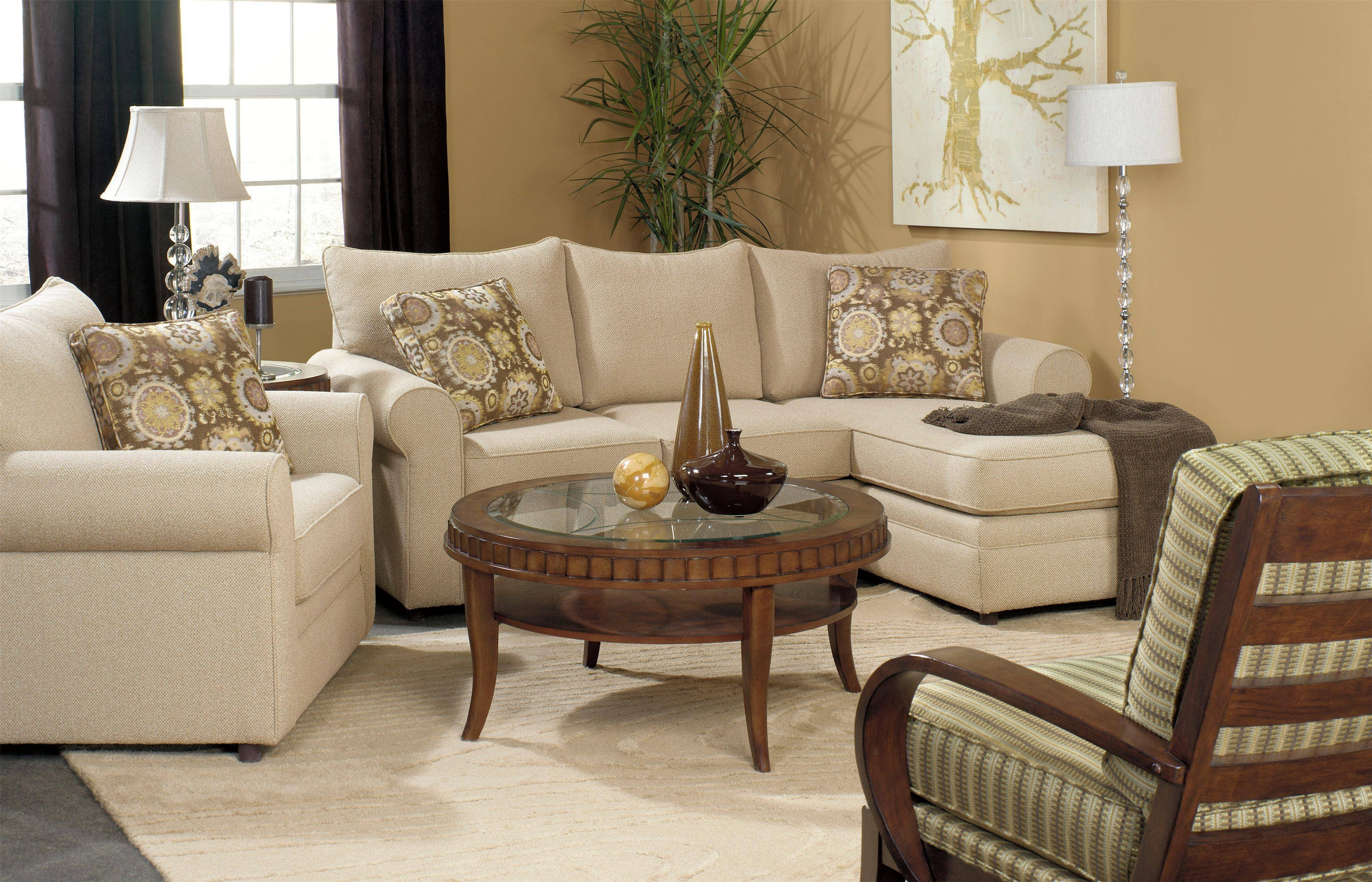 Craftmaster Abbey Casual Sofa With Chaise And Sock Arms - Belfort in Craftmaster Sectional Sofa (Image 6 of 30)