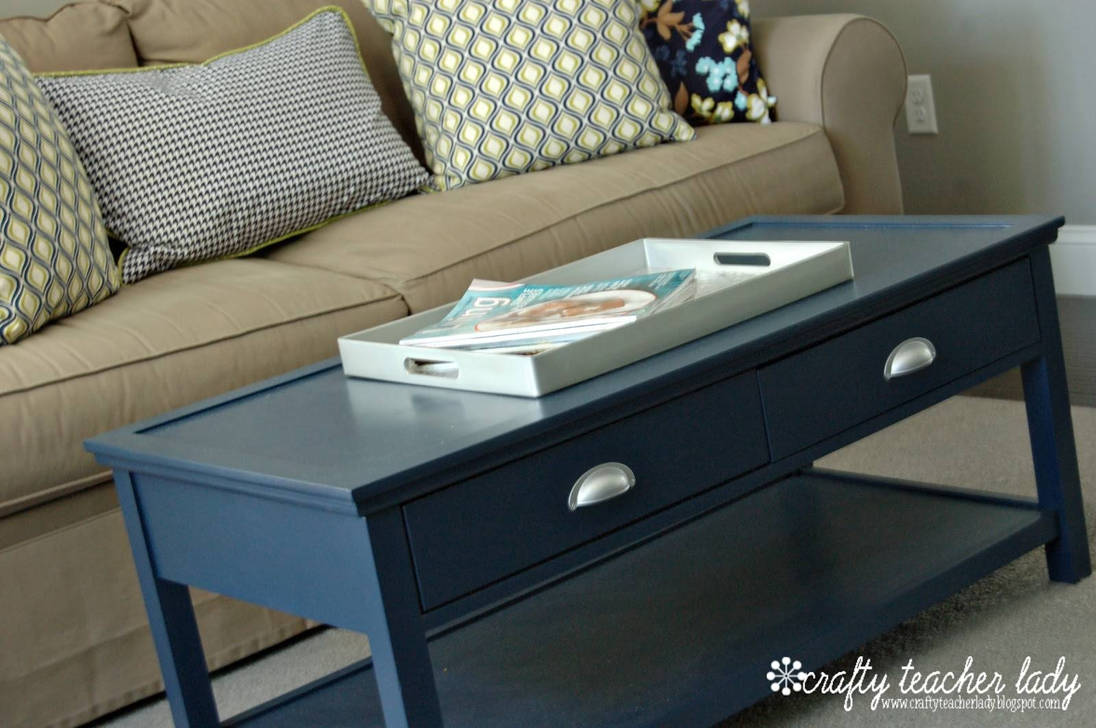 Crafty Teacher Lady: Coffee Table Makeover pertaining to Blue Coffee Tables (Image 19 of 30)