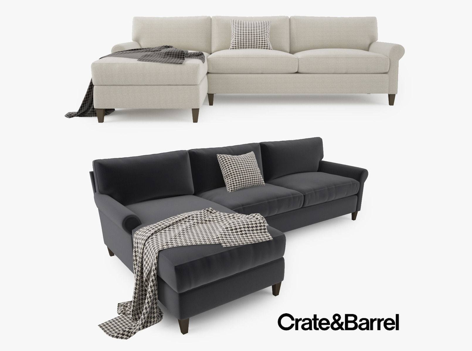 Crate And Barrel Montclair 2 Piece Sectional Sofa 3D Model Max Obj throughout Crate and Barrel Sectional Sofas (Image 12 of 30)