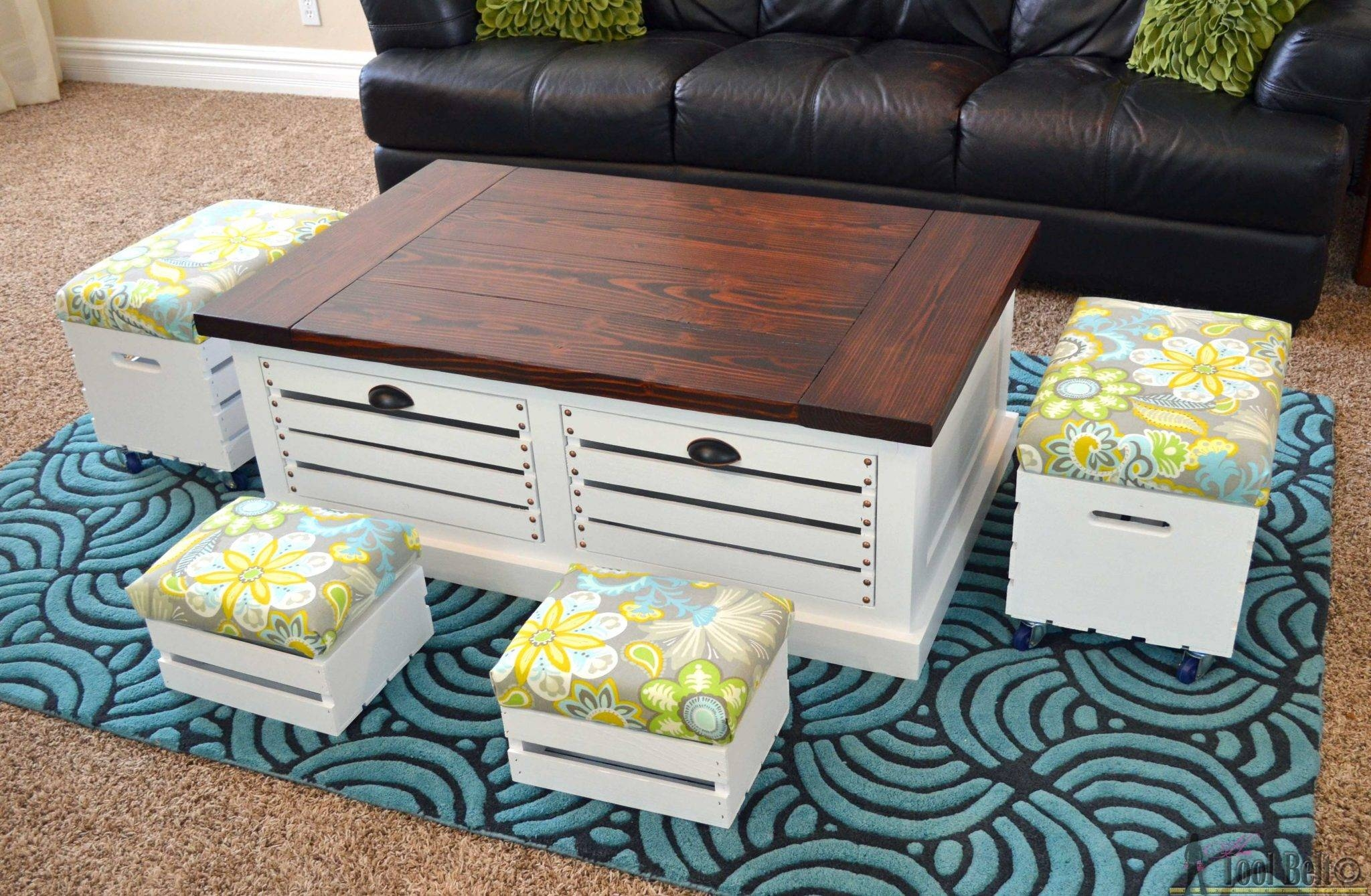 Crate Storage Coffee Table And Stools – Her Tool Belt In Coffee Table With Stools (View 11 of 30)