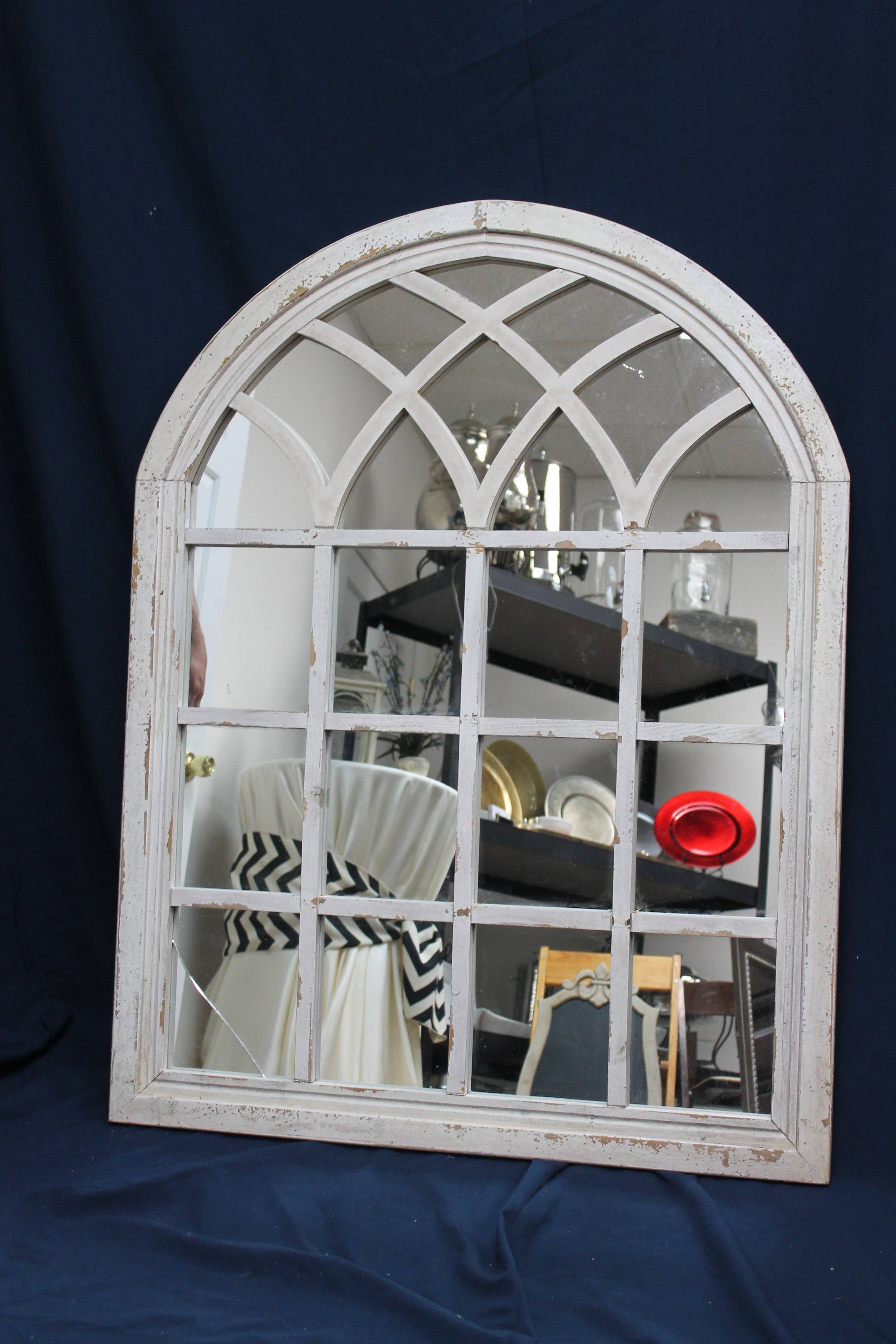 Cream Arched Window Pane With Mirrors | Ms Events intended for Arched Window Mirrors (Image 11 of 25)