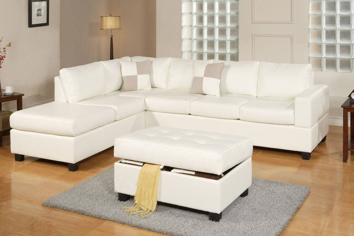 Cream Bonded Leather Sectional - All American Furniture - Buy 4 with White Sectional Sofa for Sale (Image 6 of 30)