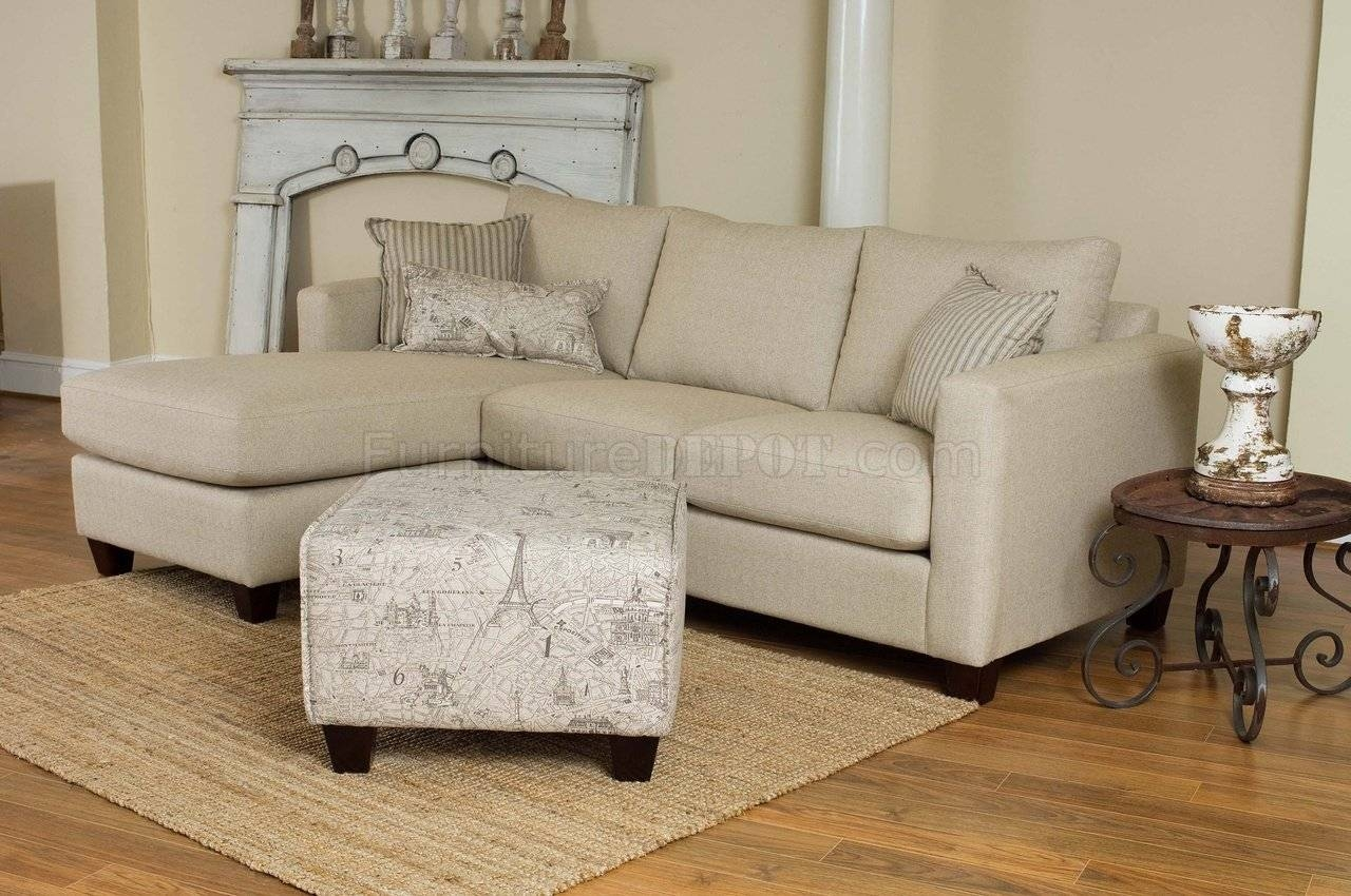 Cream Fabric Modern Reversible Sectional Sofa W/foot Stool in 6 Foot Sofas (Image 5 of 30)