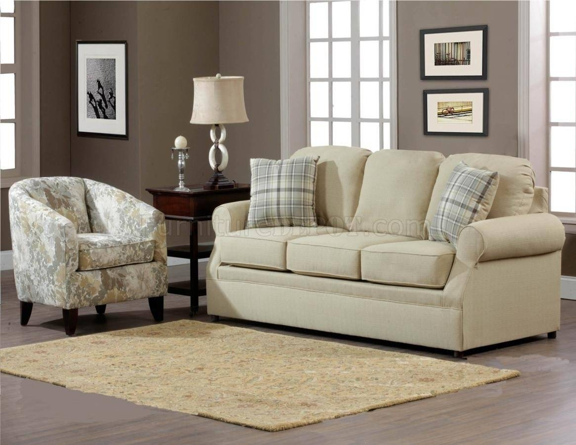 Cream Fabric Modern Sofa & Accent Chair Set W/options With Sofa And Chair Set (View 15 of 30)